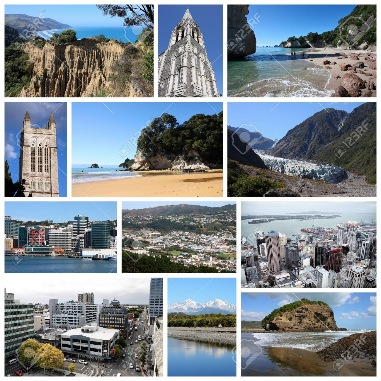 New Zealand Tourism Attractions Travel Photo Collage With Auckland