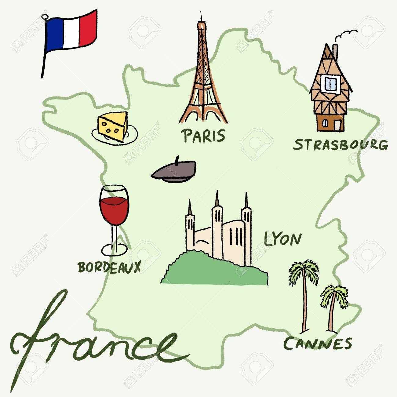 france landmarks vector map paris lyon cannes strasbourg cheese wine