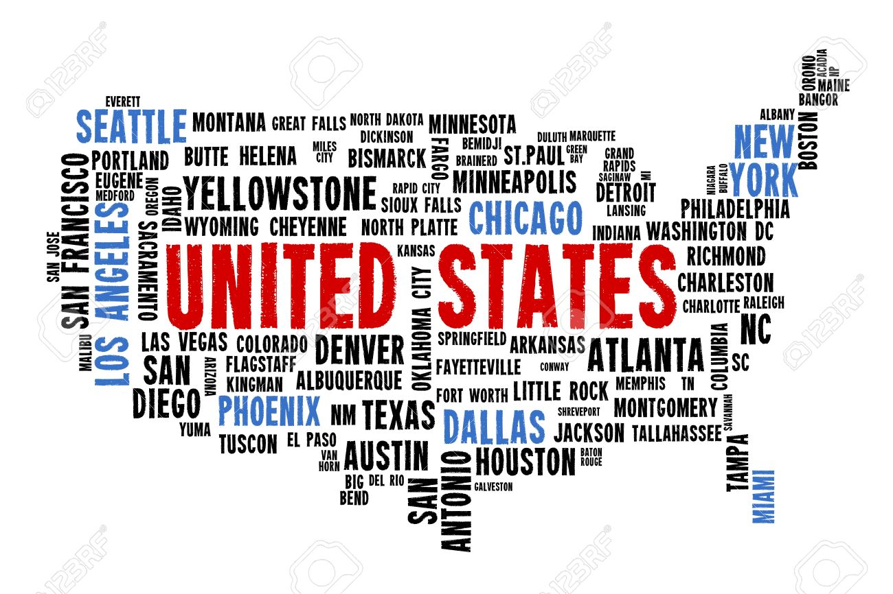 USA Word Map City Names Text Vector Stock Photo Picture And - Word map