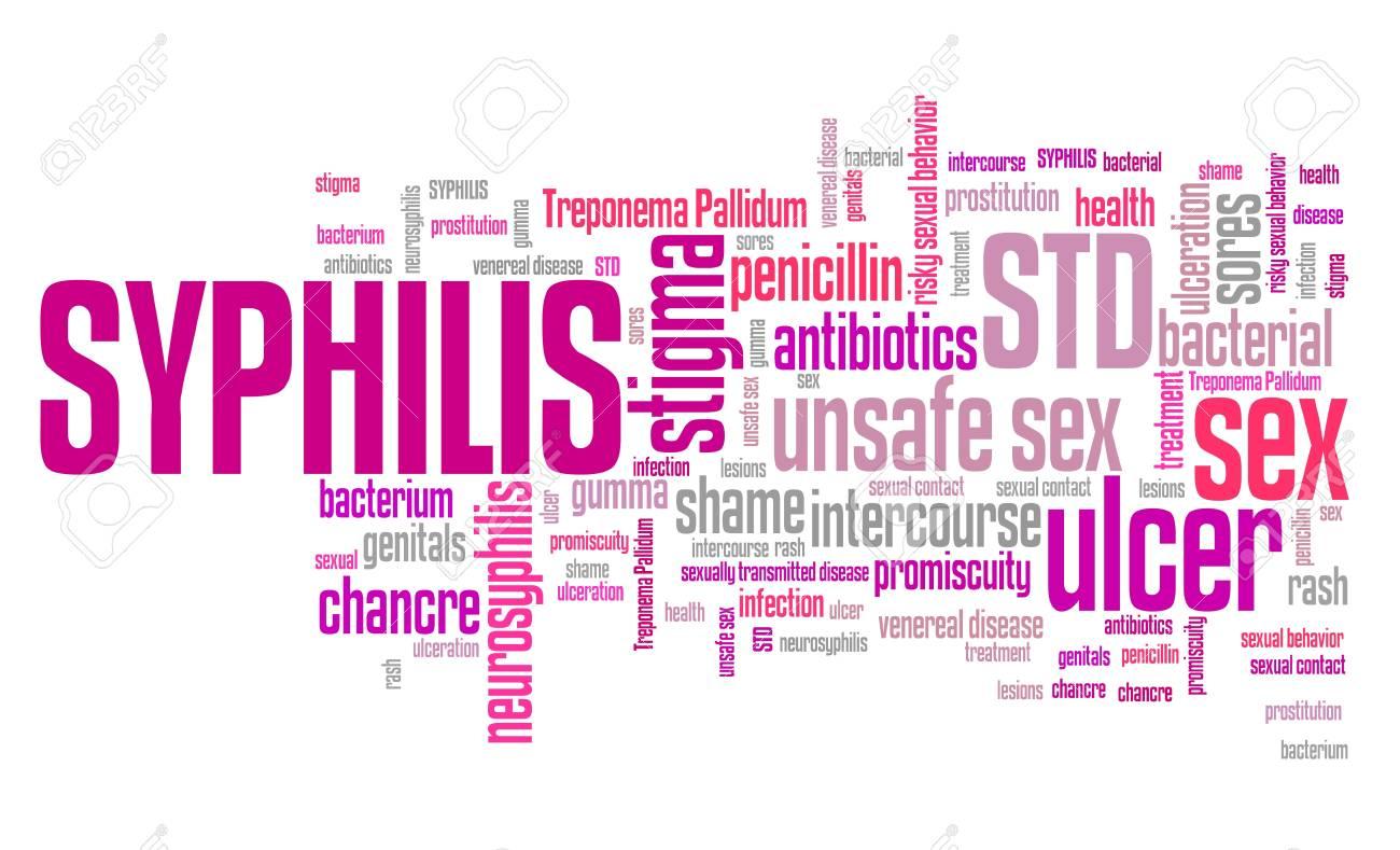 Syphilis - maladie sexuellement transmissible (MST). Concept de santé de  mot nuage.