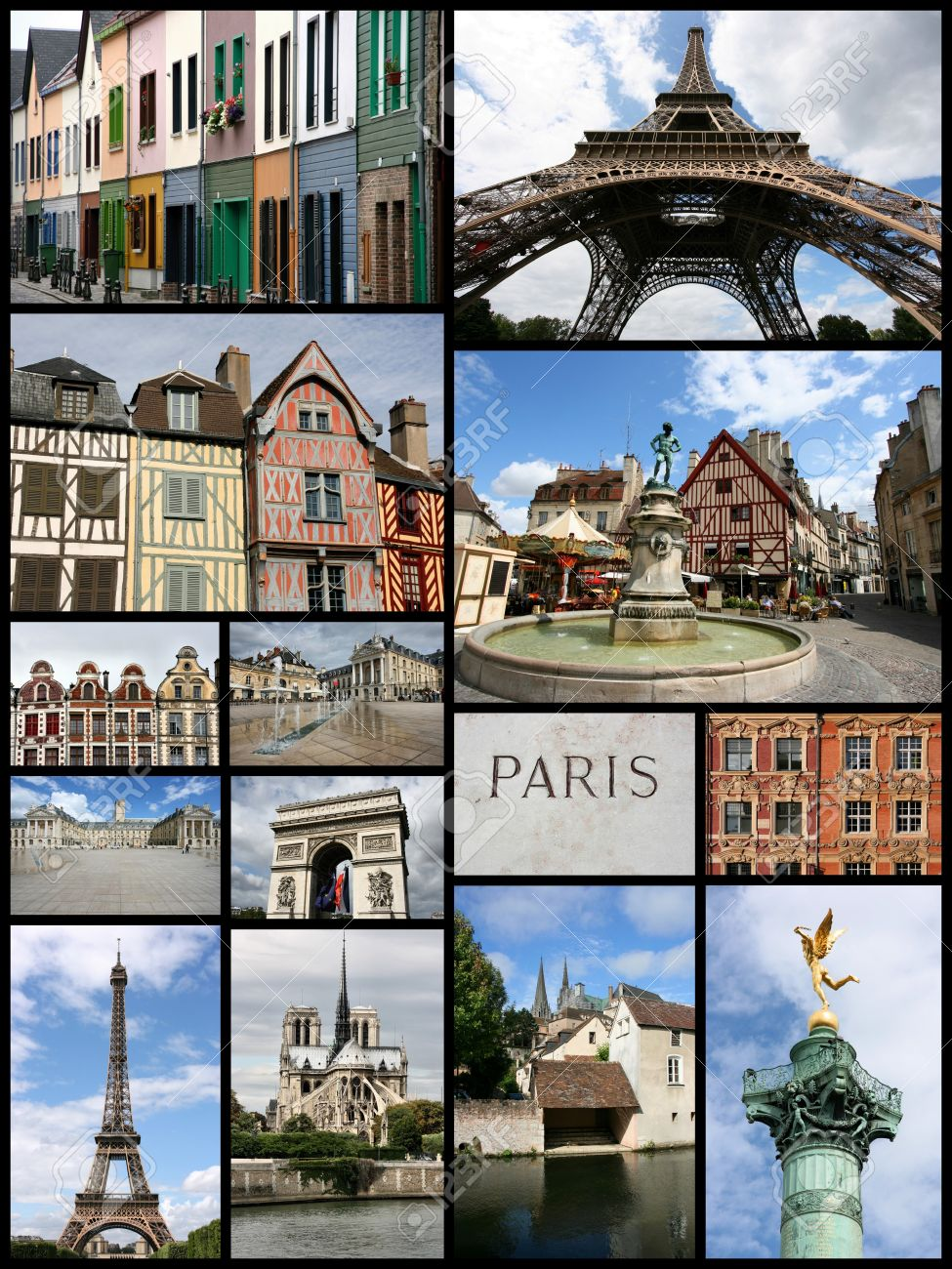 Travel Collage From France Includes Famous Places Like Paris Amiens Chartres