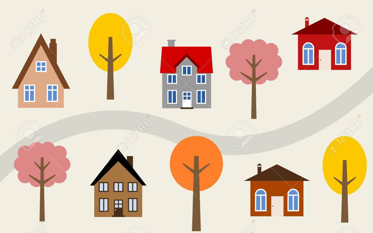 漫画町イラスト 道に沿ってかわいい家 秋のテーマです のイラスト素材 ベクタ Image