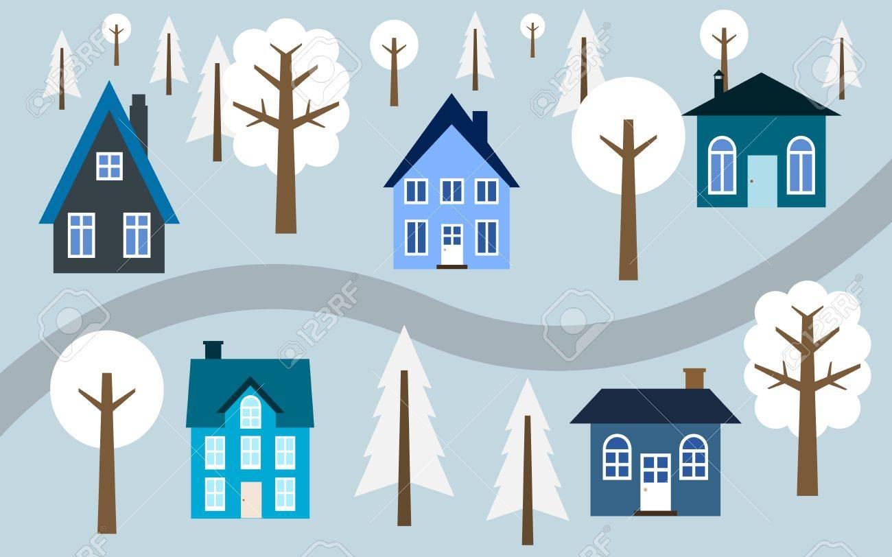 漫画村イラスト 道に沿ってかわいい家冬の町