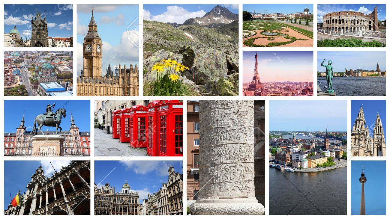 Europe Landmarks Travel Collage With Berlin Paris Rome London Stock Photo Picture And Royalty Free Image Image 58969189
