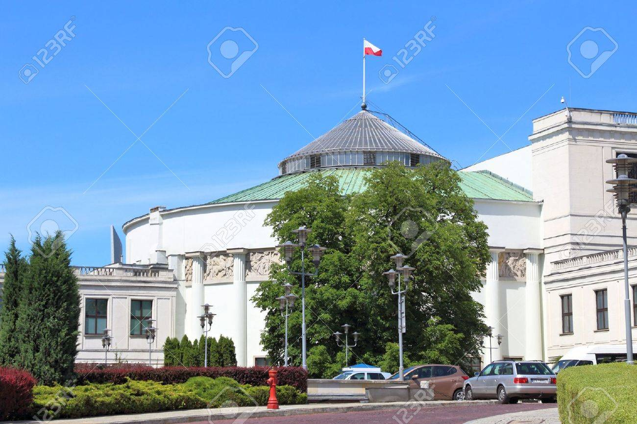 WARSAW, POLAND - JUNE 19, 2016: Exterior view of Sejm Parliament building in Warsaw, Poland. Warsaw is the capital city of Poland. 1.7 million people live here. - 59171072