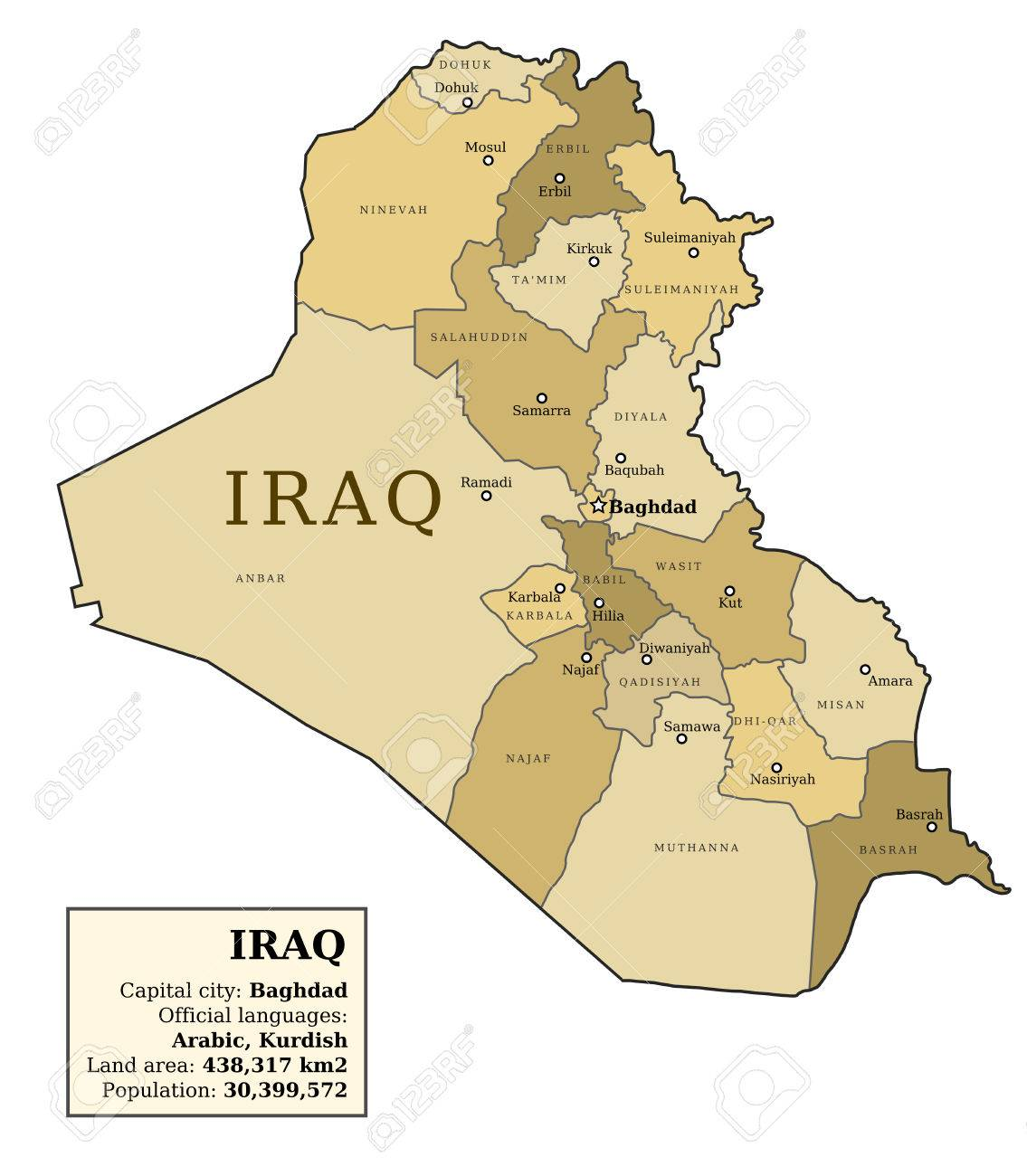 Iraq Map With Provinces (governorates) In Various Colours And ...