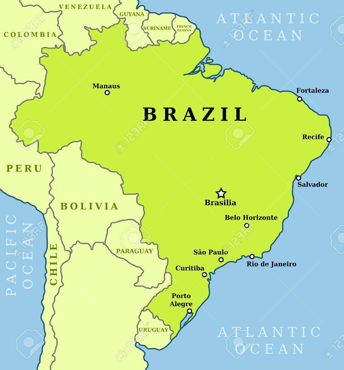 Map of Brazil. Country outline with 10 largest cities including..