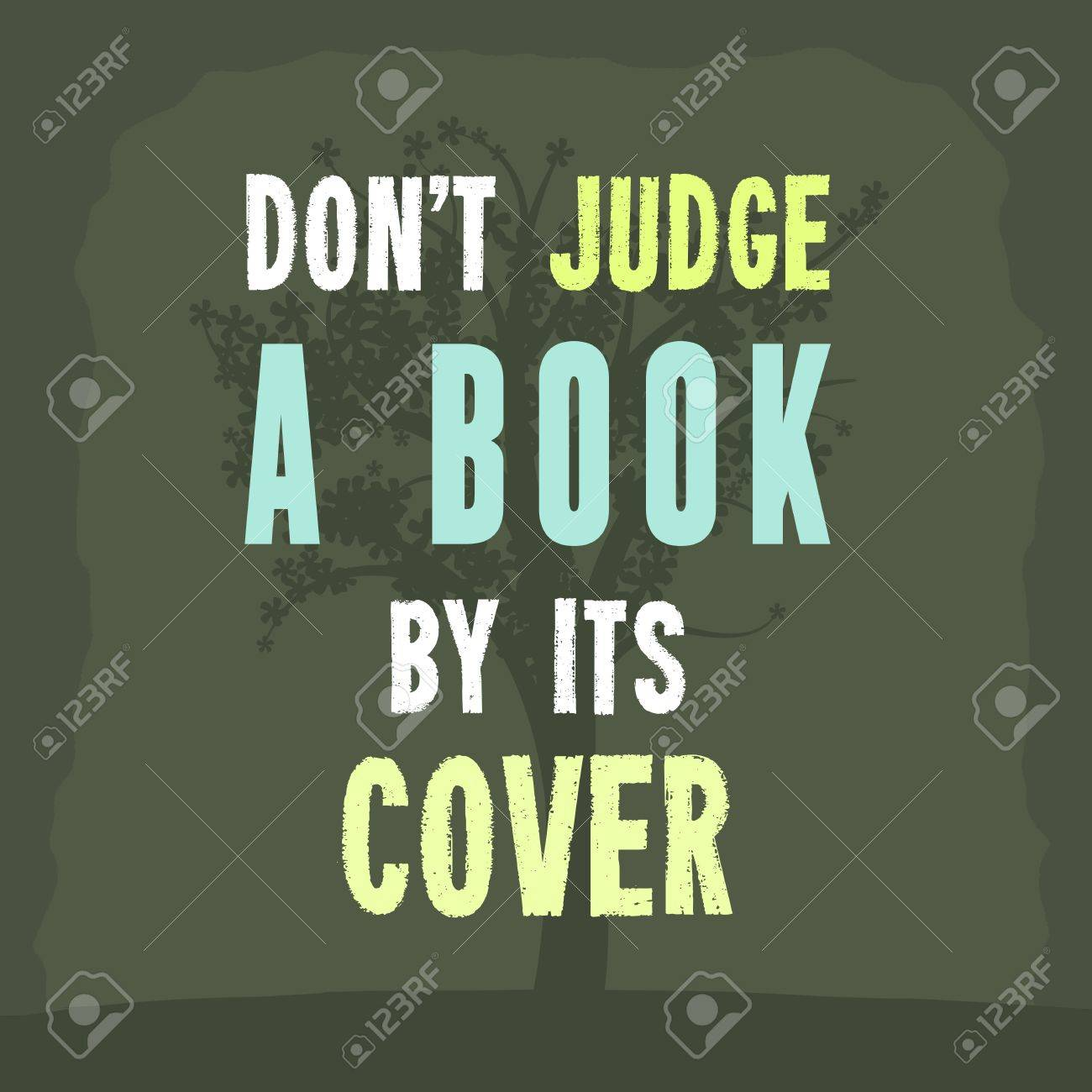 Dont Judge A Book By Its Cover Inspiration Poster With Motivational Proverb