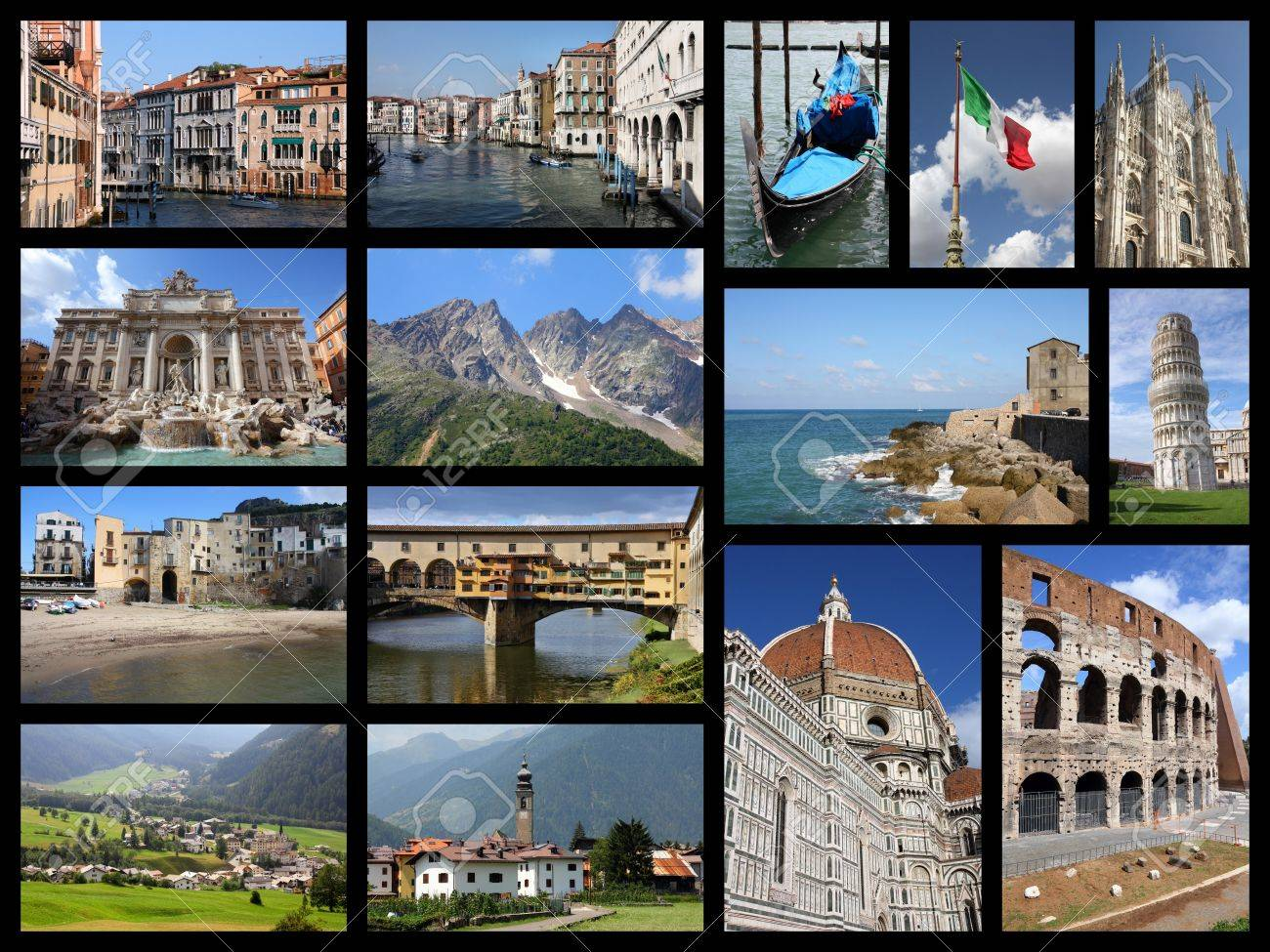 italy tourism attractions travel photo collage with rome venice