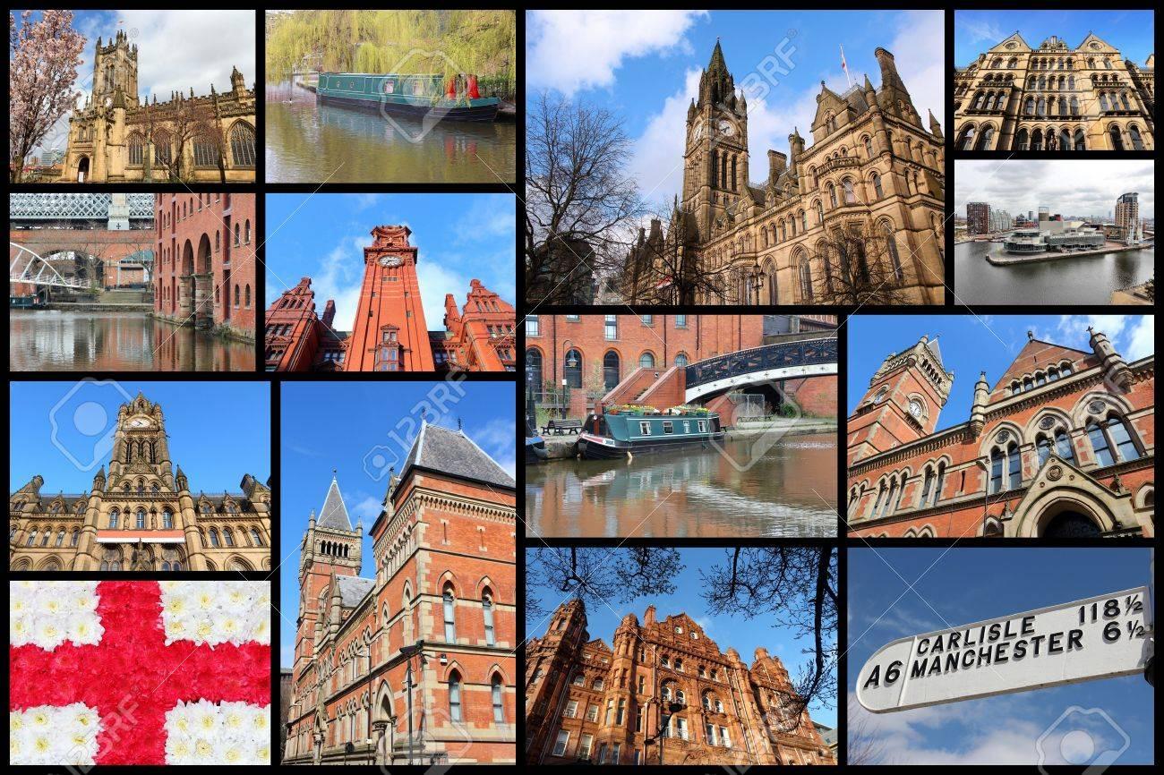 Manchester, Reino Unido Fotos De Viajes Collage. Collage Incluye A ...