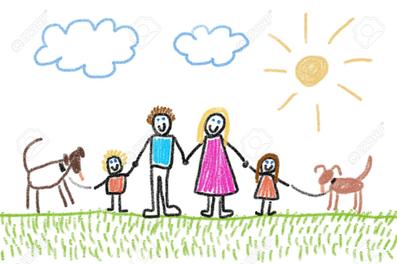 family and two dogs crayon drawing simple style child u0027s