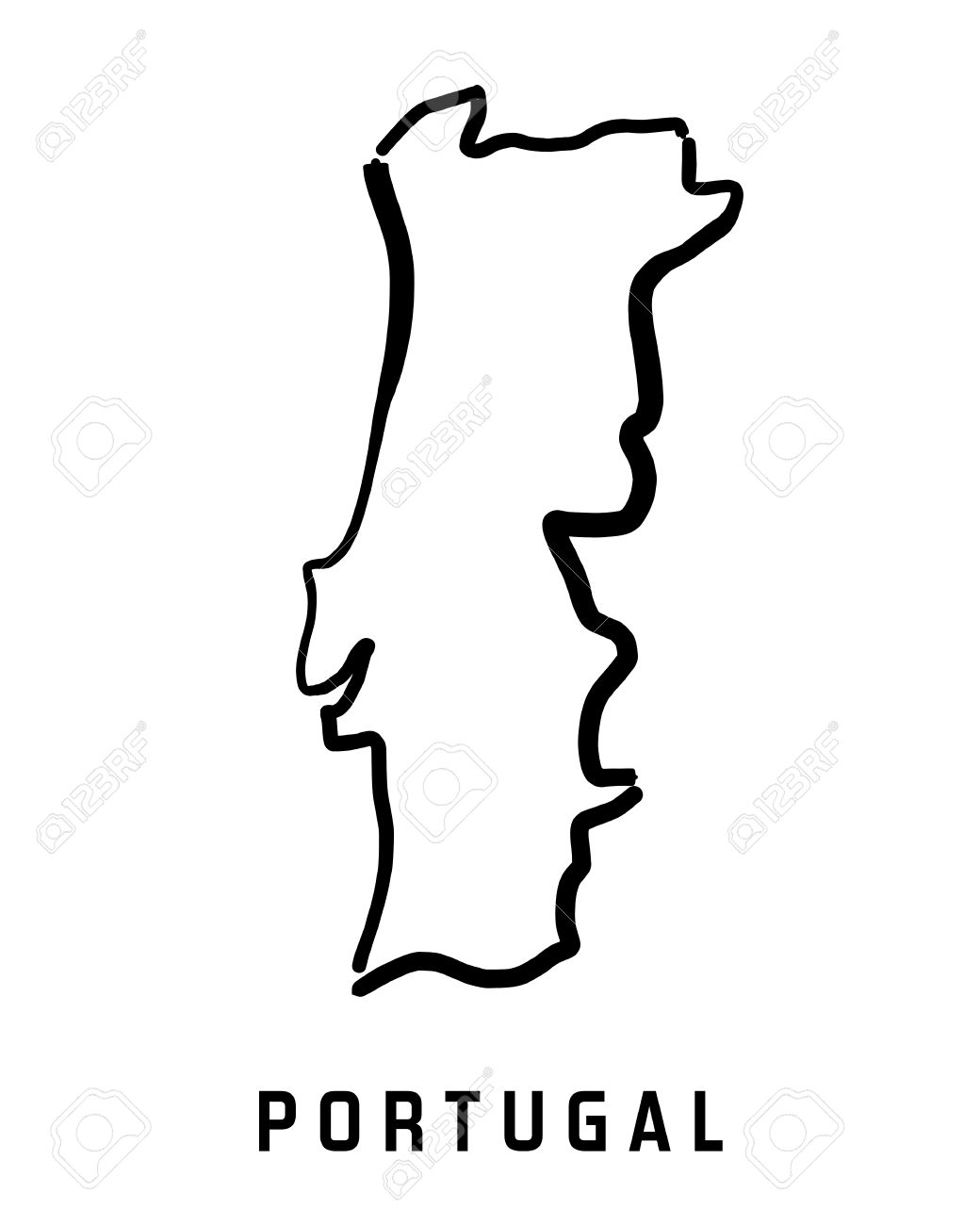 Portugal Map Outline Smooth Country Shape Map Vector Royalty - Portugal map vector