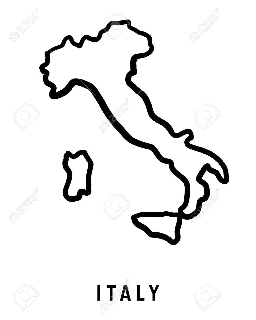 Italy Map Outline   Smooth Country Shape Map Vector. Royalty Free