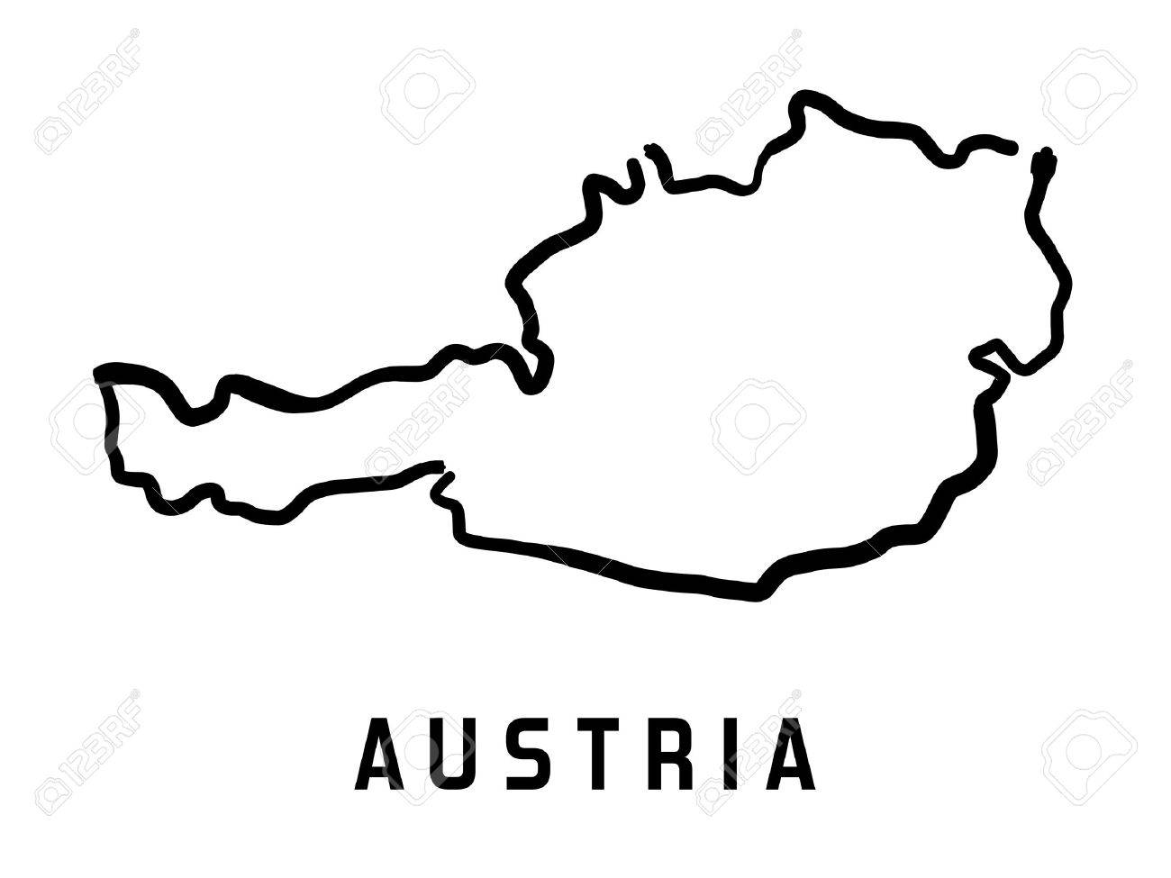 Austria Map Outline Smooth Country Shape Map Vector Stock Vector 64860235