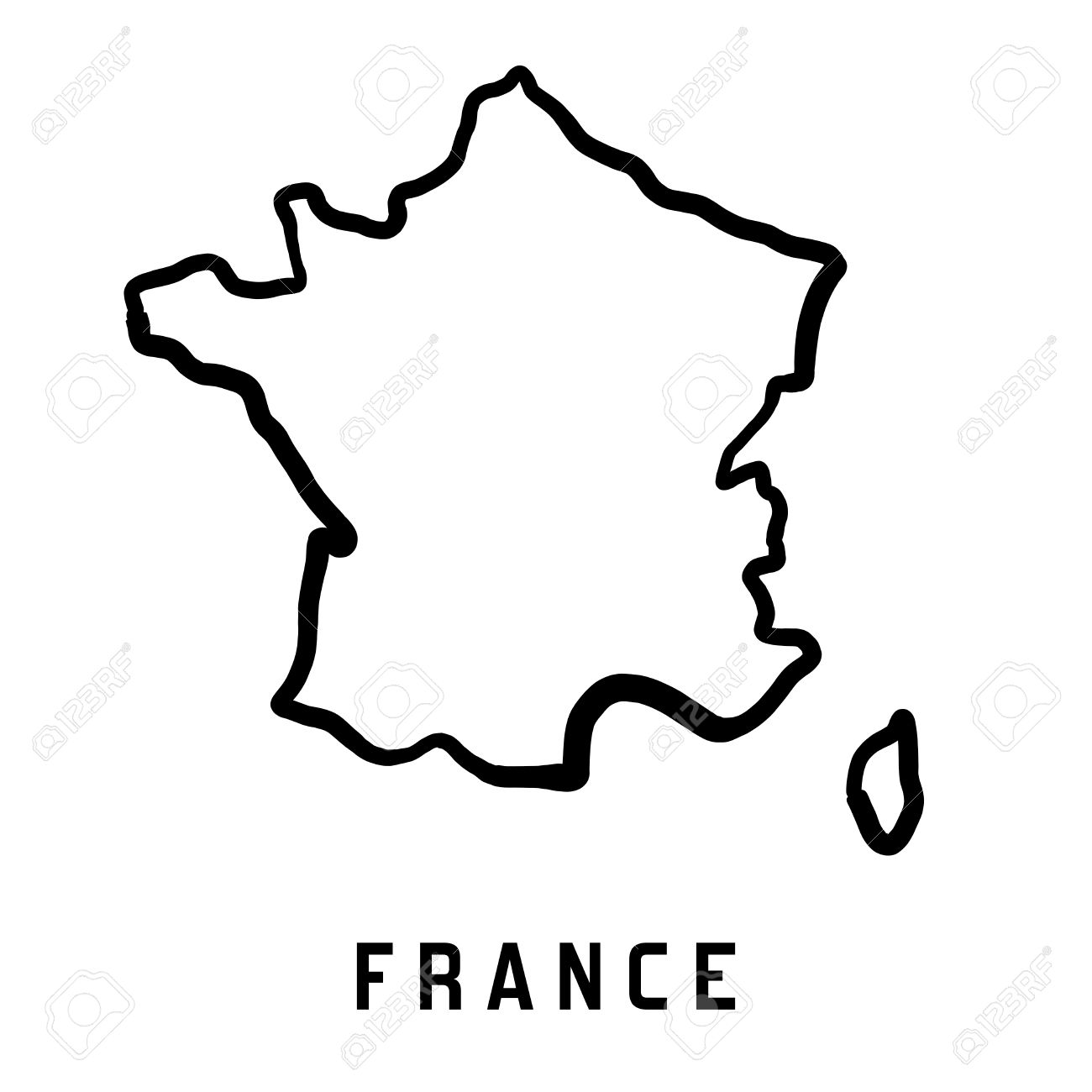 France Map Outline Smooth Country Shape Map Vector Royalty Free