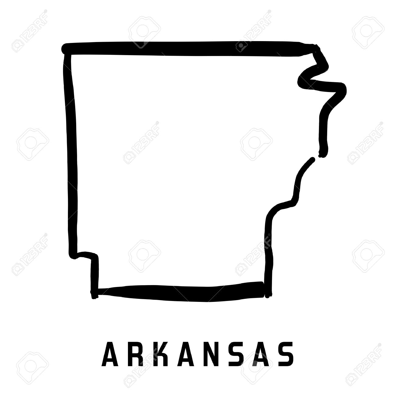 Arkansas State Map Outline Smooth Simplified Us State Shape Map Vector Stock Vector