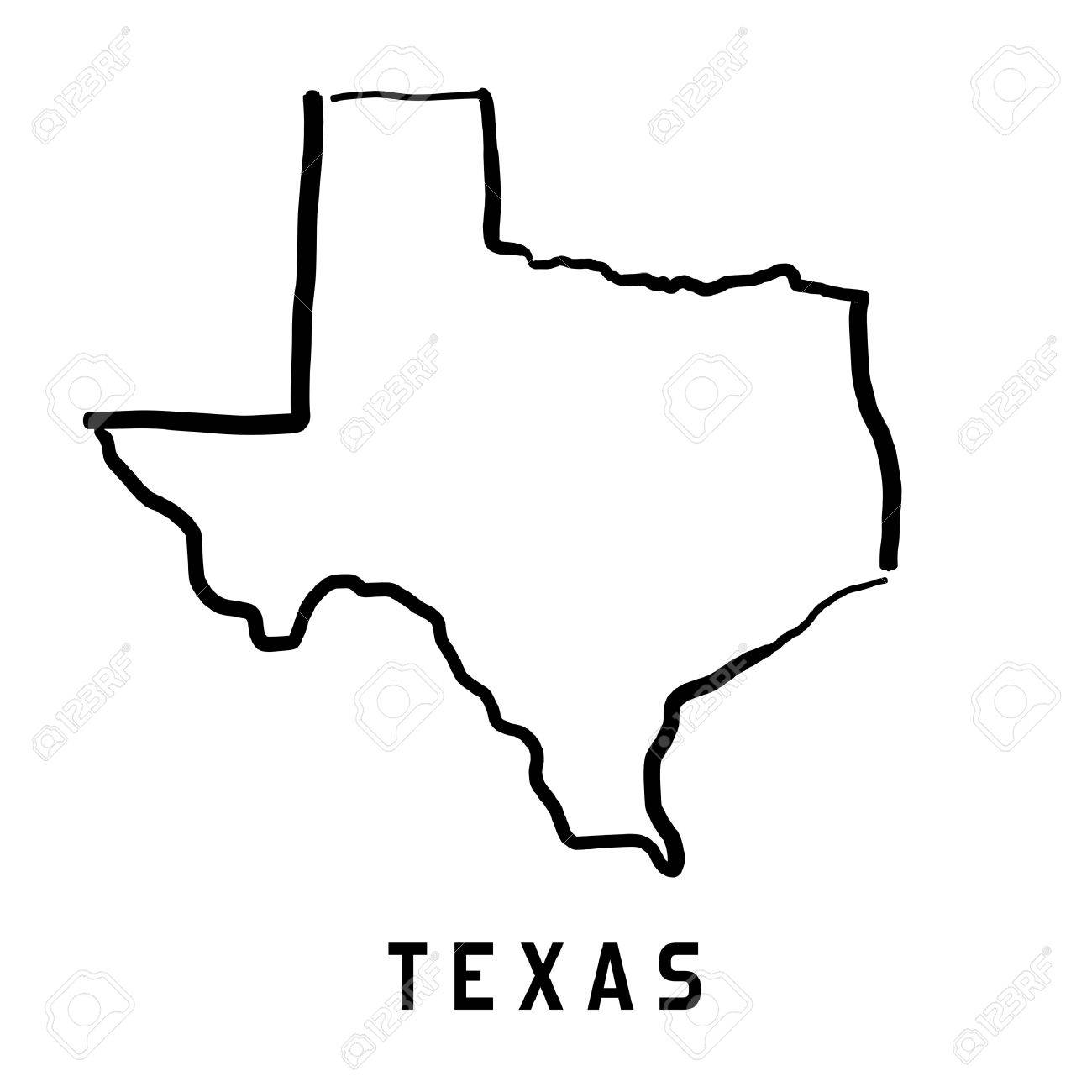 Texas Map Outline Smooth Simplified Us State Shape Map Vector