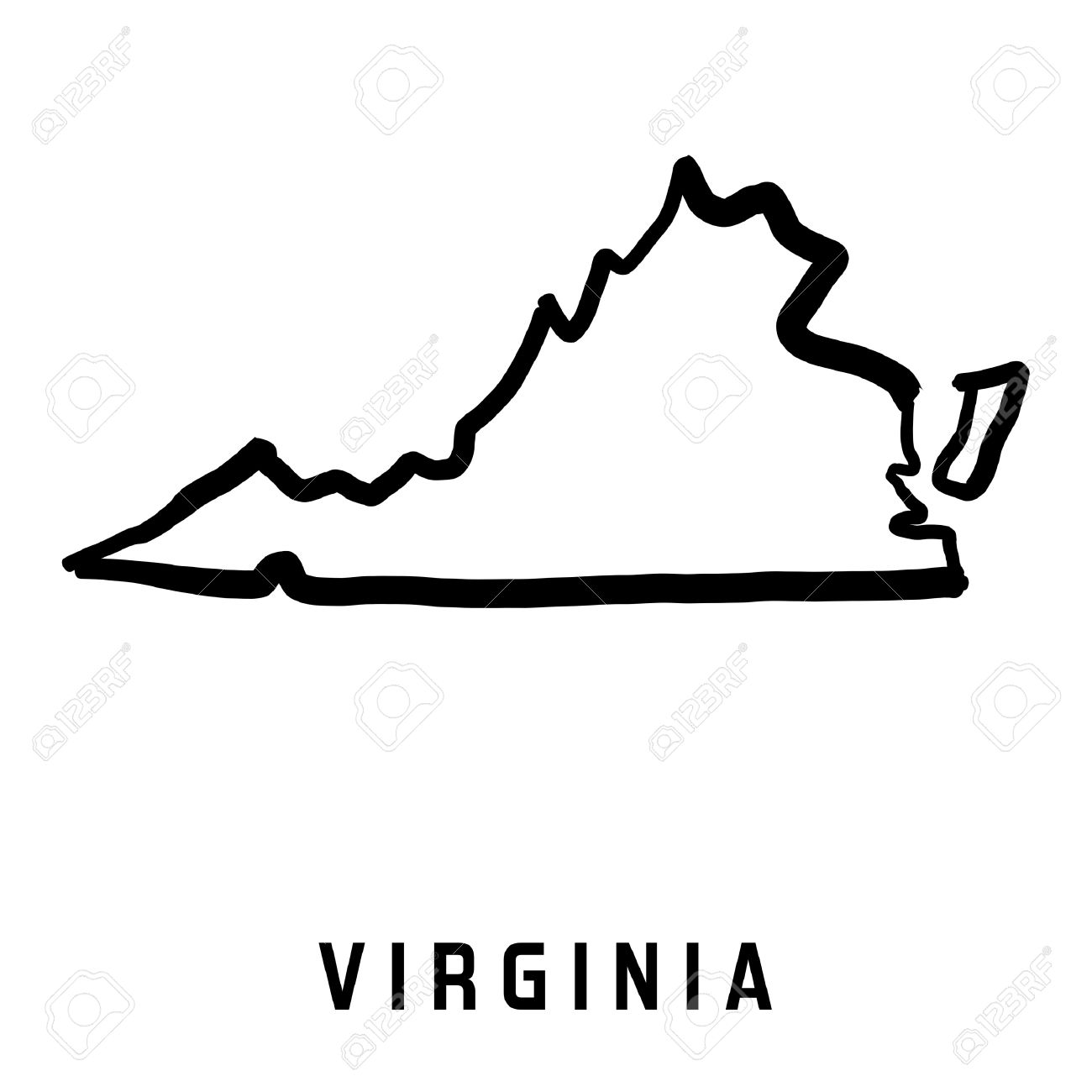 Virginia Map Outline   Smooth Simplified US State Shape Map Vector