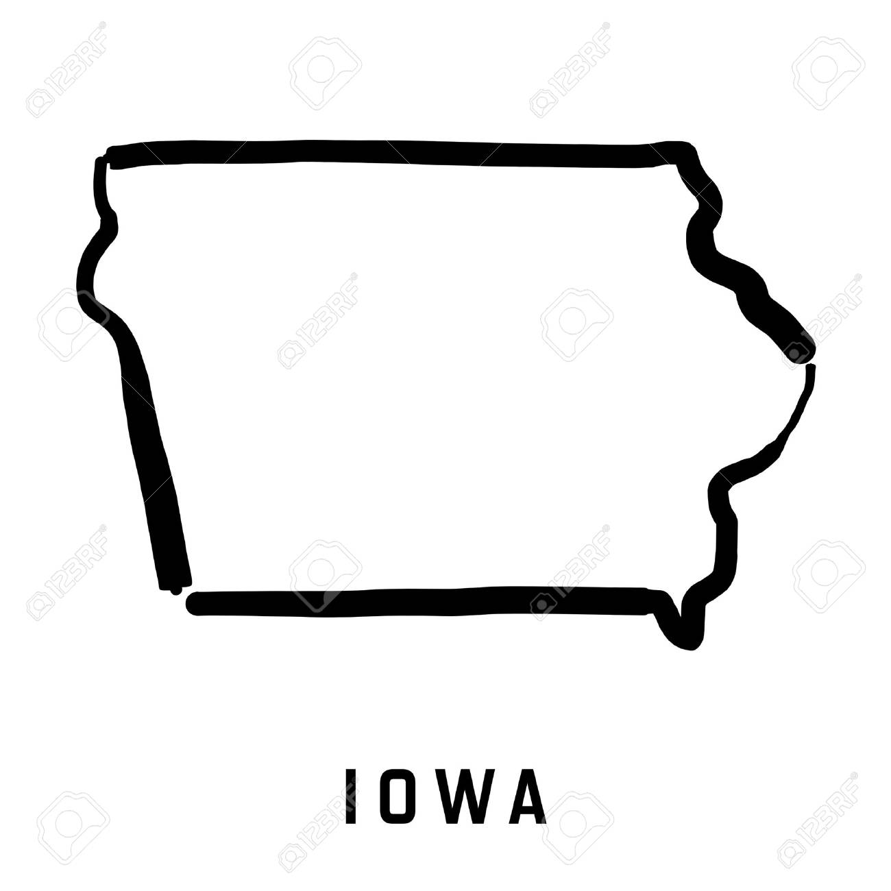 U S State Map Vector.Iowa State Map Outline Smooth Simplified Us State Shape Map