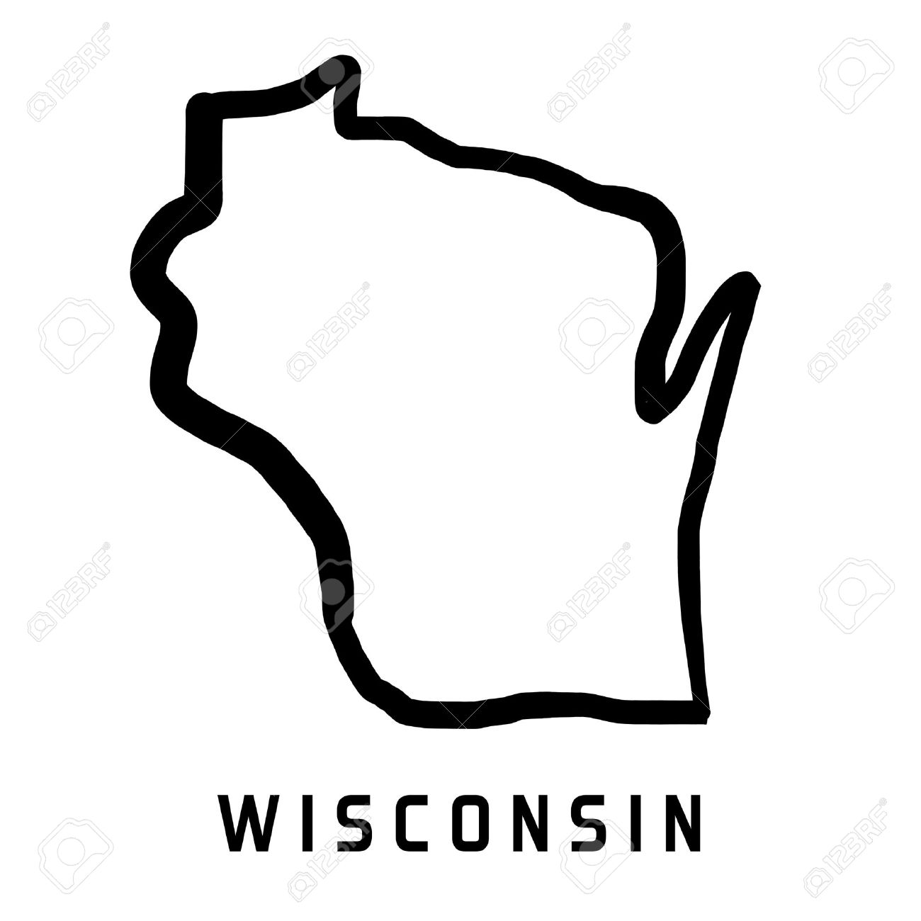Wisconsin Map Outline Smooth Simplified Us State Shape Map Vector Stock Vector 72578243