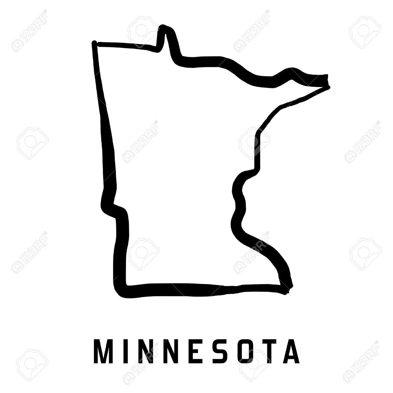 U S State Map Vector.Minnesota State Map Outline Smooth Simplified Us State Shape