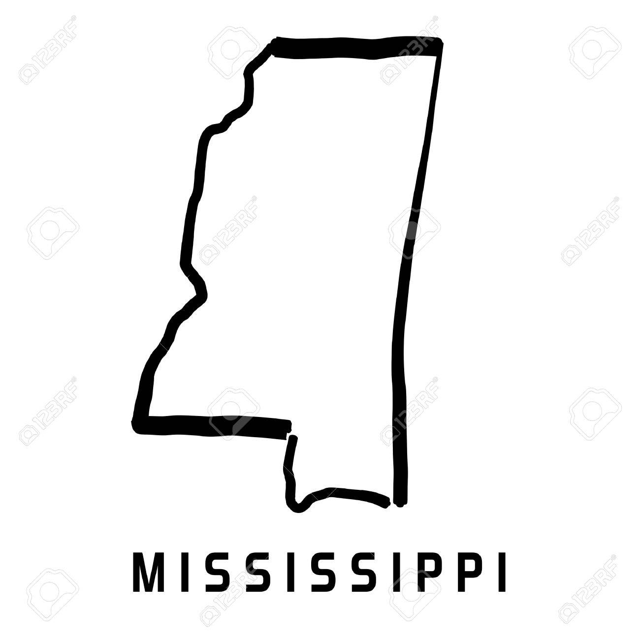 U S State Map Vector.Mississippi State Map Outline Smooth Simplified Us State Shape