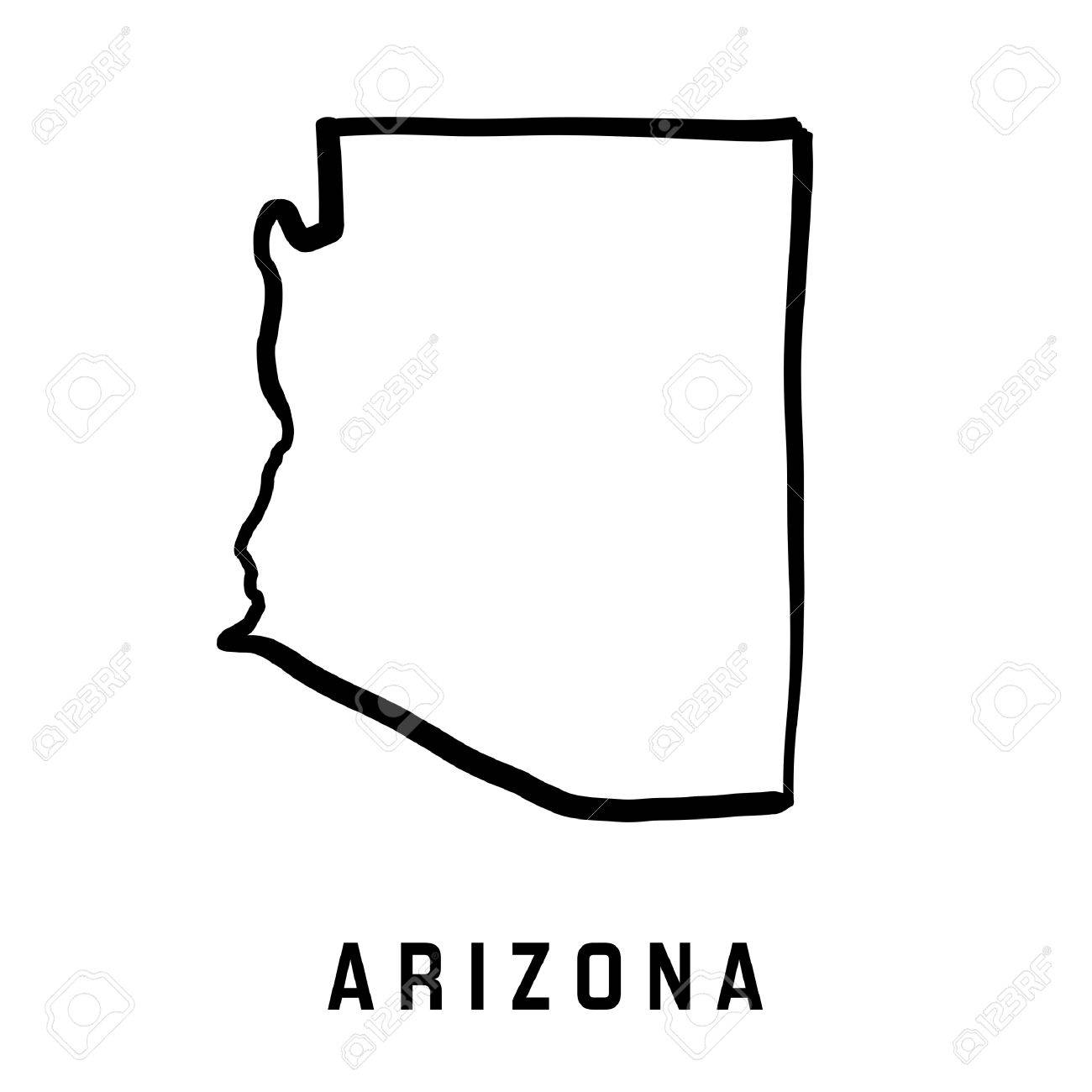 Arizona State Map Outline   Smooth Simplified US State Shape