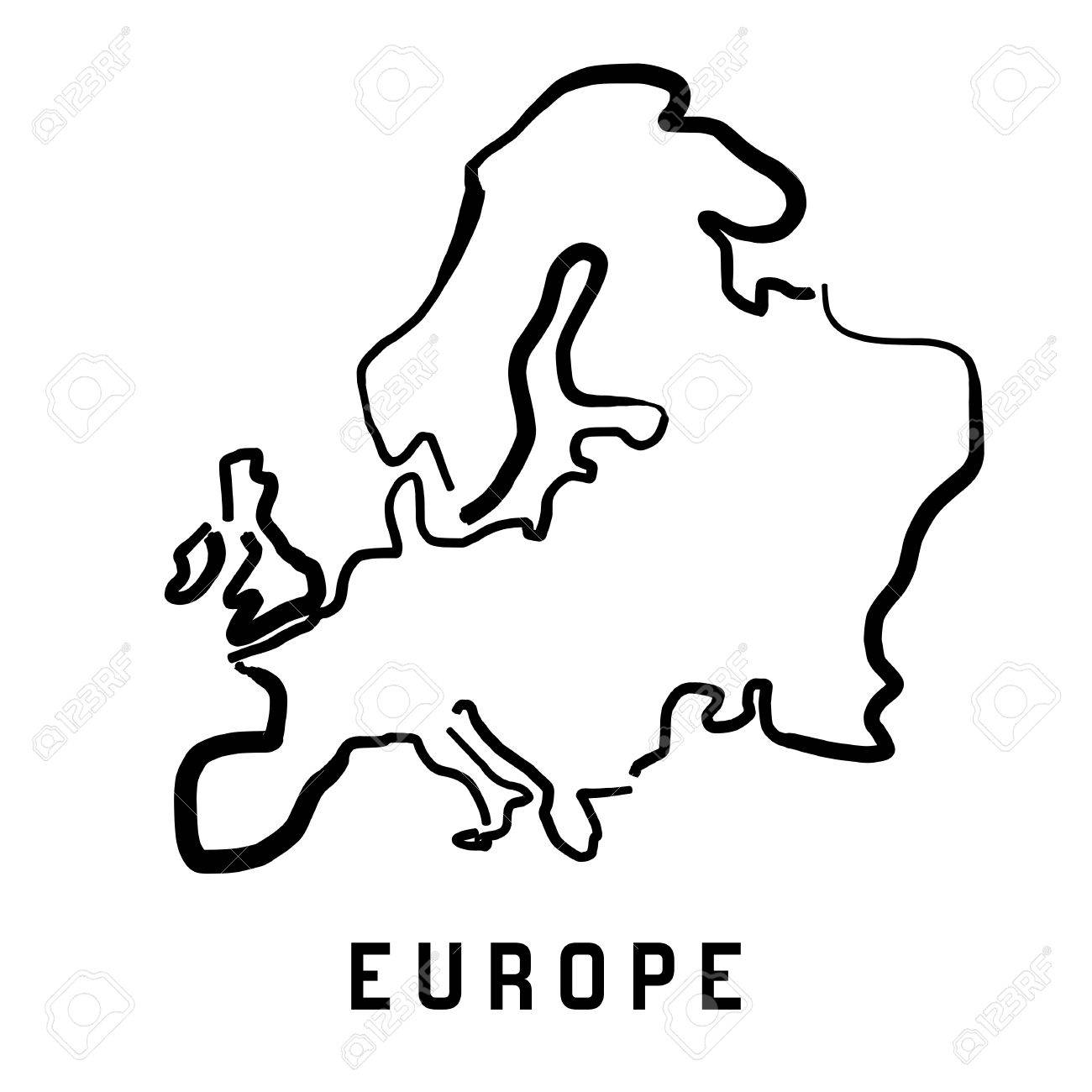 Europe Simple Map Outline Smooth Simplified Continent Shape