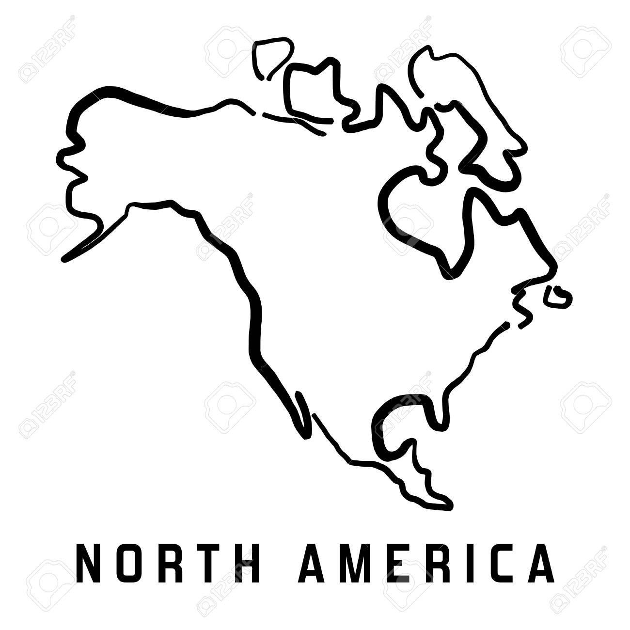 North America Simple Map Outline - Smooth Simplified Continent ... on
