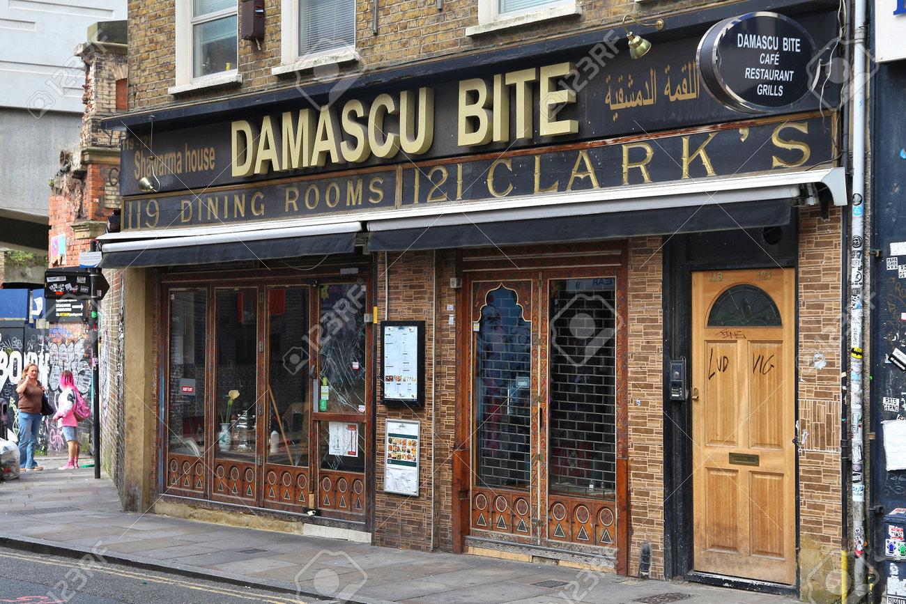 london uk july 9 2016 damascu bite restaurant witch arabic lebanese