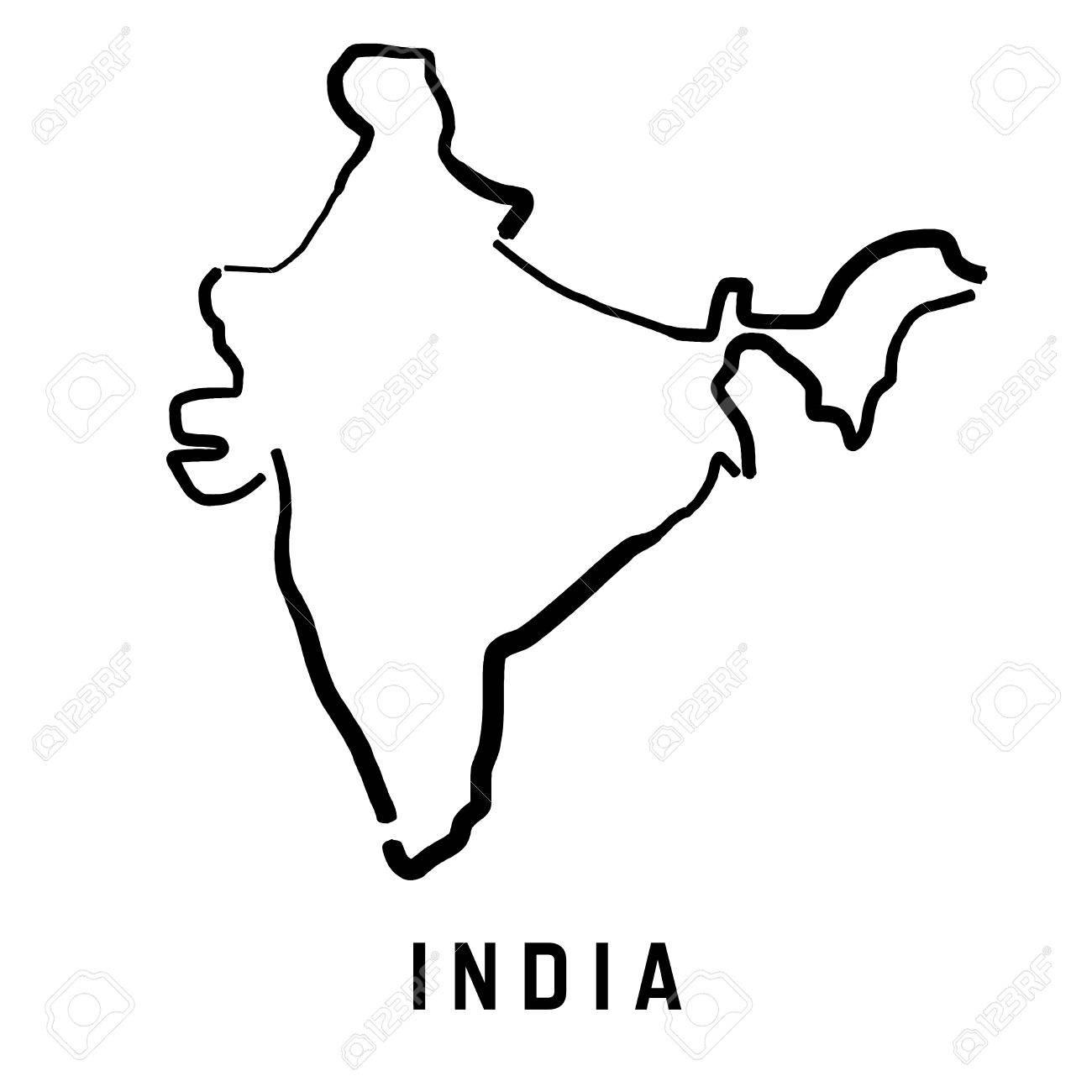 India Simple Map Outline Smooth Simplified Country Shape Map