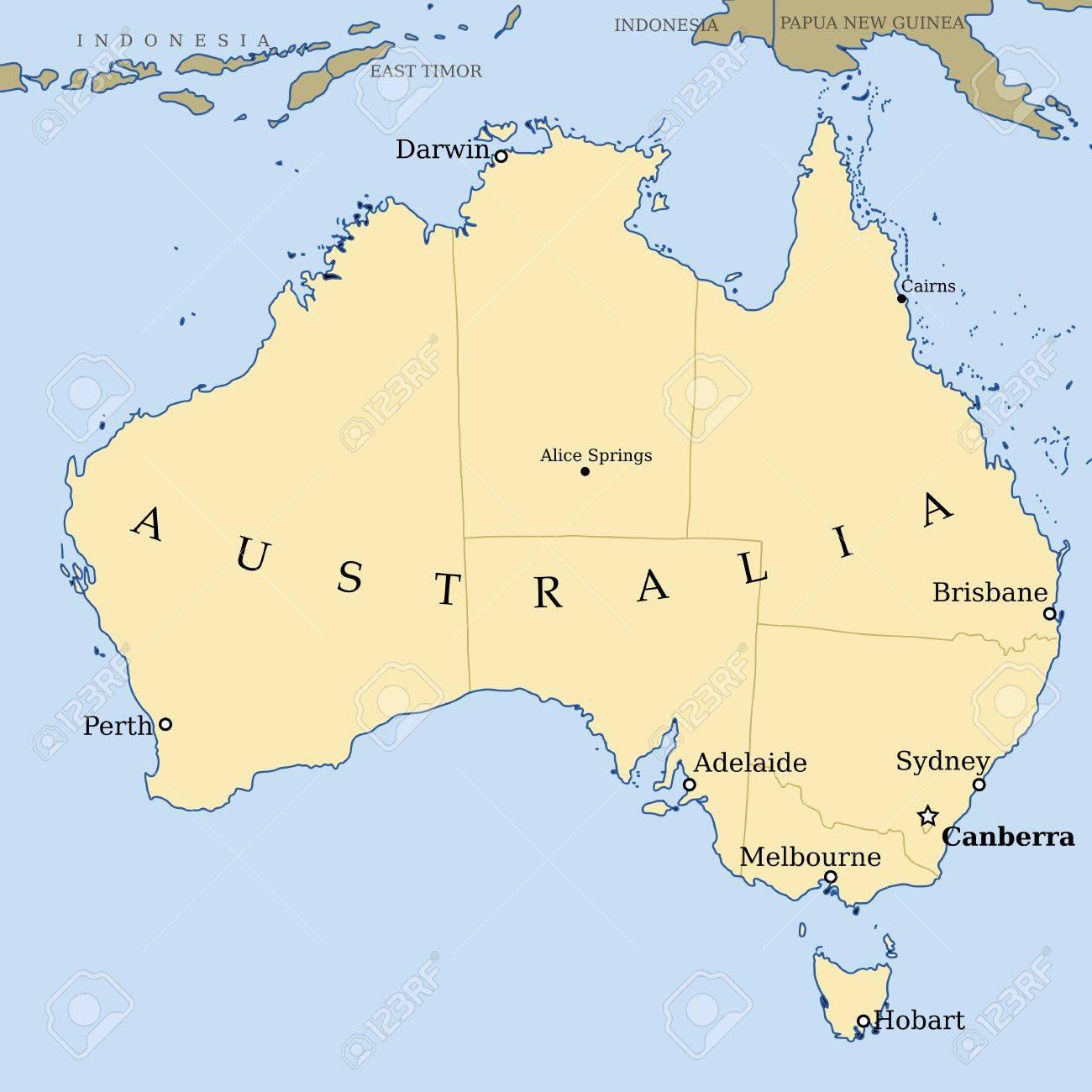 australien karte Australien Karte   Politische Karte Der Vektorillustration Mit