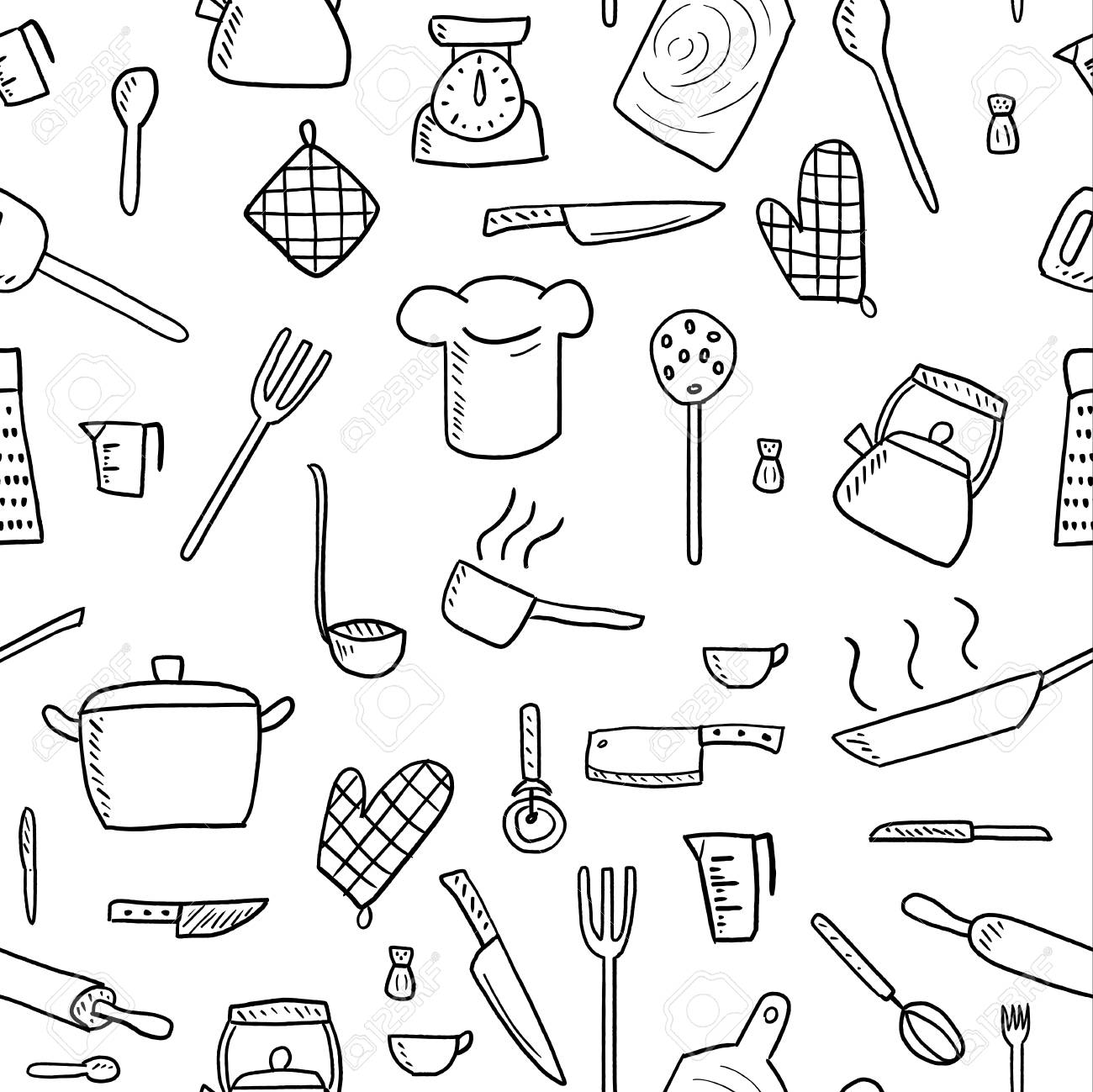 Cooking Utensils And Kitchen Tools - Seamless Background Doodle ...