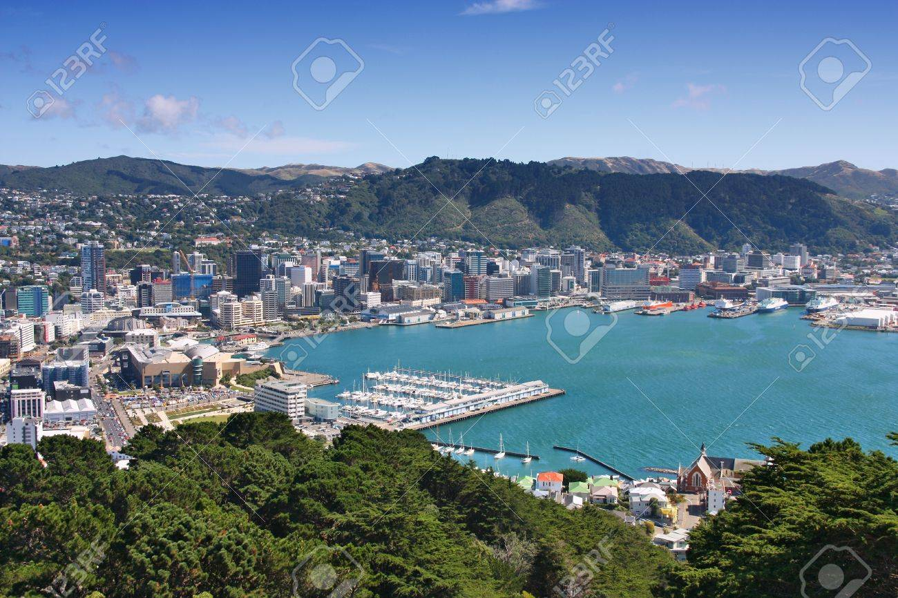Wellington, New Zealand - city aerial view of marina and downtown skyscrapers. - 80820138