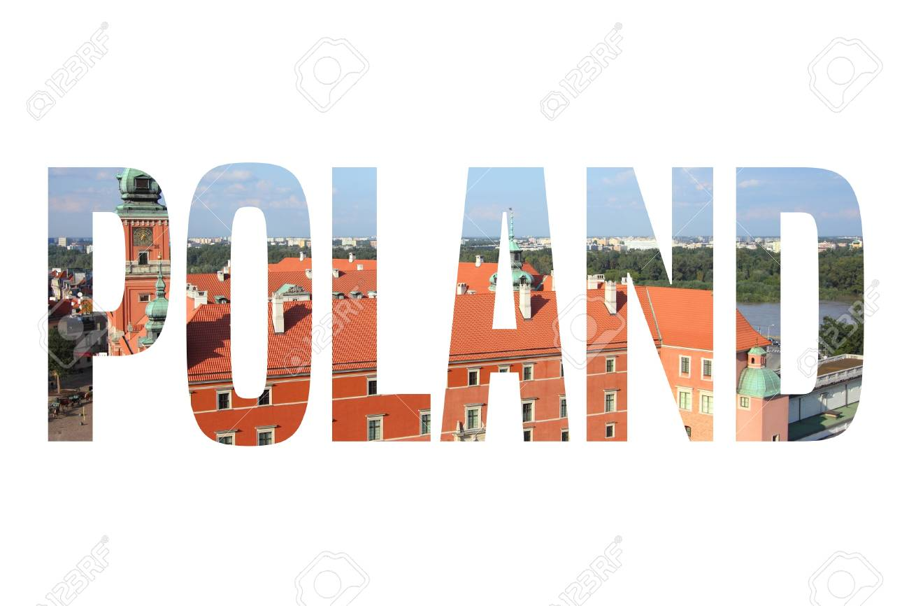 Poland Country Name Word - Isolated Text Sign With Warsaw Photo ...