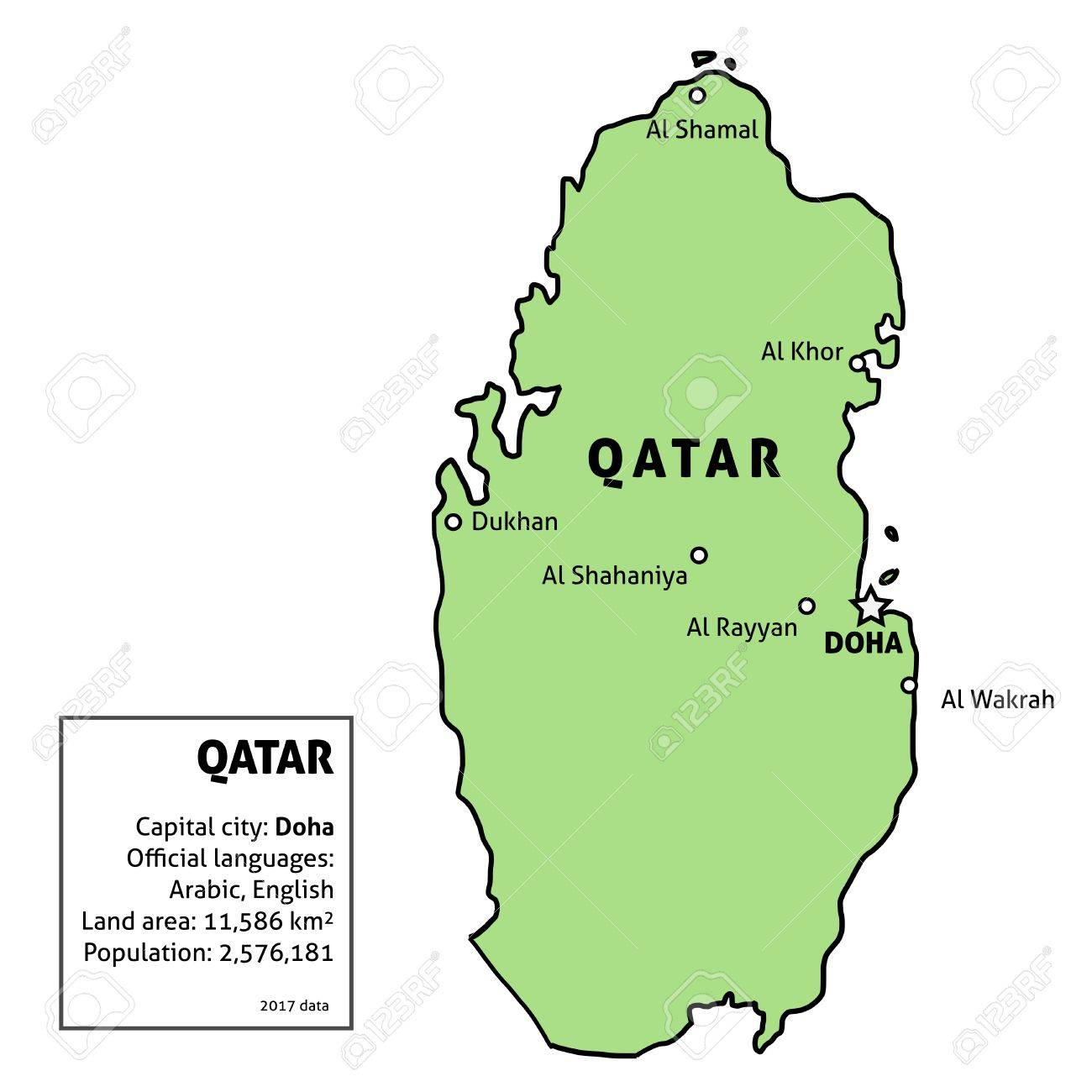 Qatar Map Outline Illustration Country Map With Main Cities - Qatar map