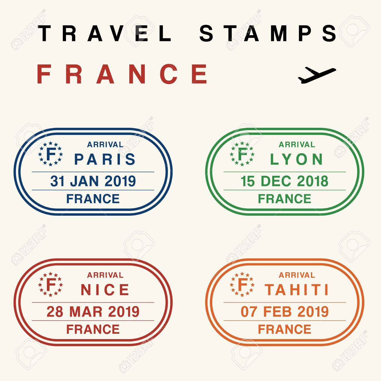Travel Vector - Passport Stamps Set (fictitious Stamps). France ...