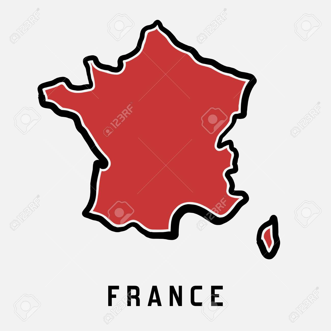 France Simple Map Outline Simplified Country Shape Map Vector