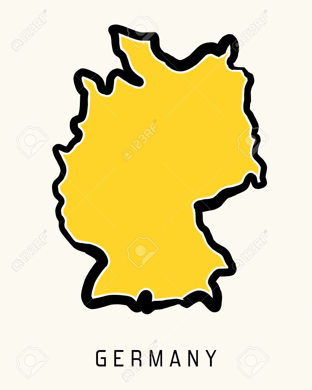 Germany Simple Map Outline Simplified Country Shape Map Vector - Germany map shape