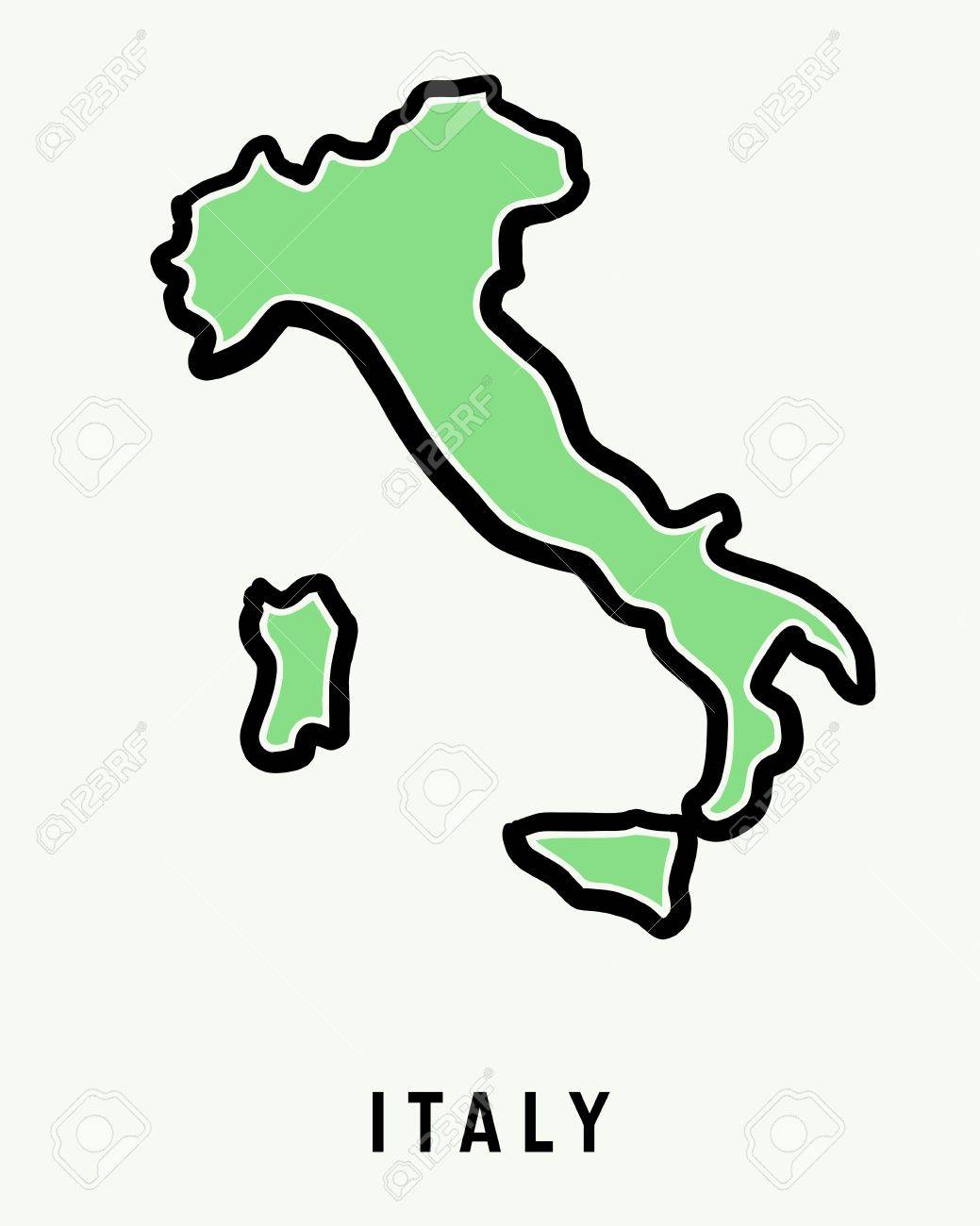 Map Of Italy Simple.Italy Simple Map Outline Simplified Country Shape Map Vector
