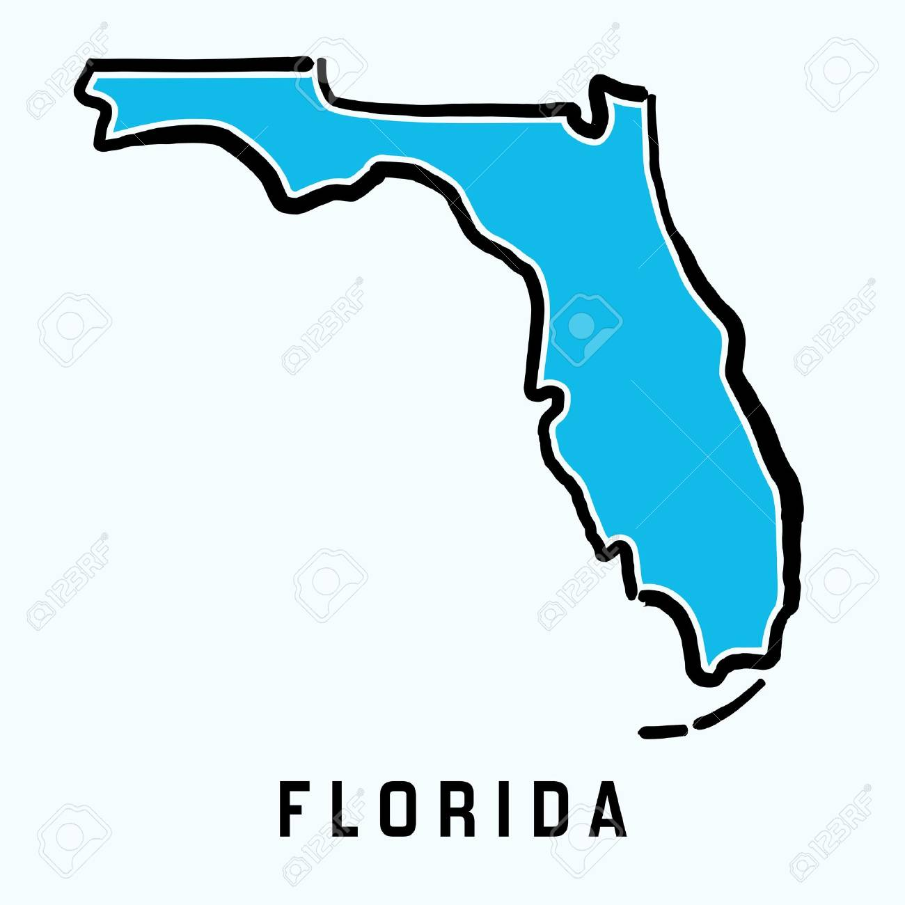 Florida Map Outline Smooth Simplified Us State Shape Map Vector