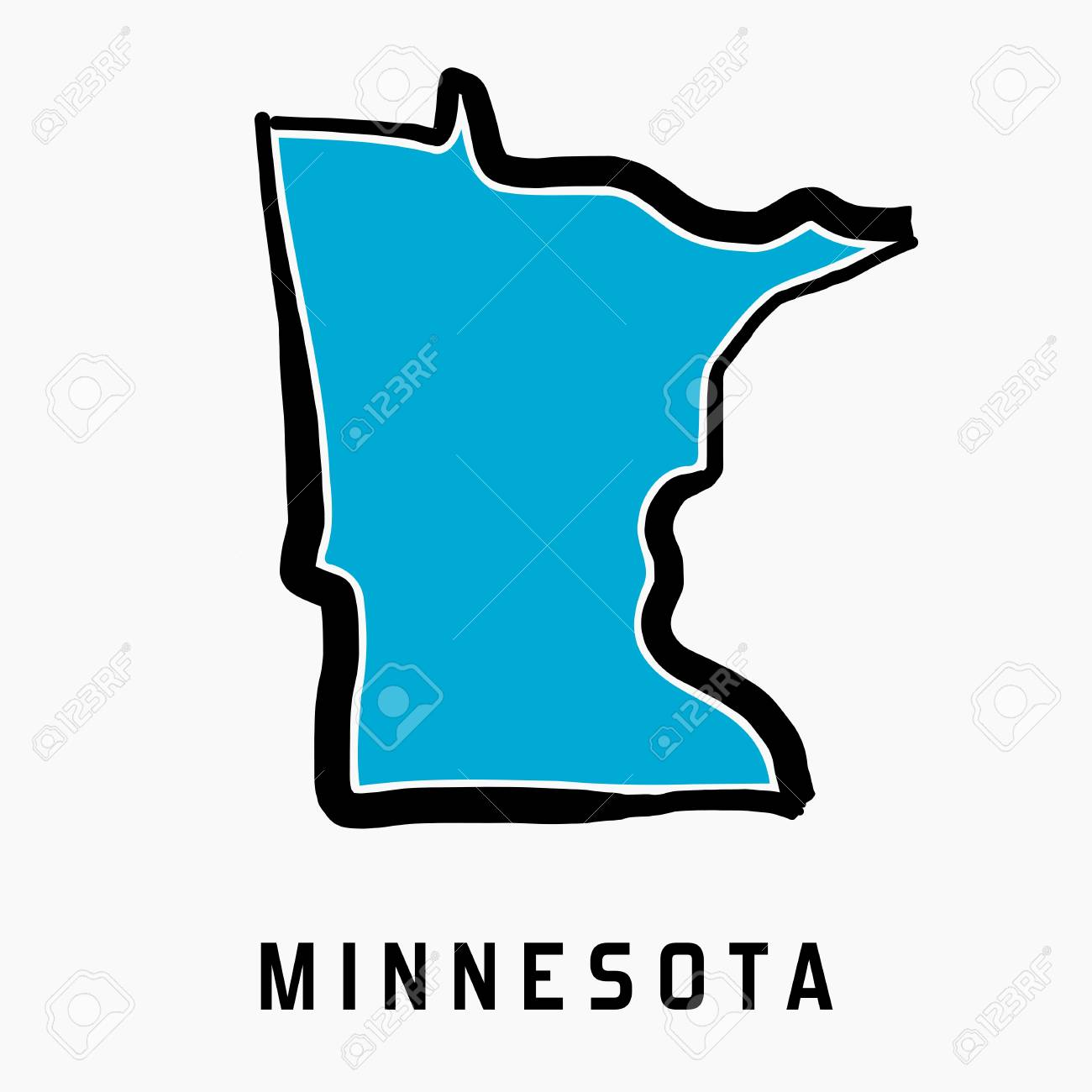 Minnesota Map Outline Smooth Simplified Us State Shape Map