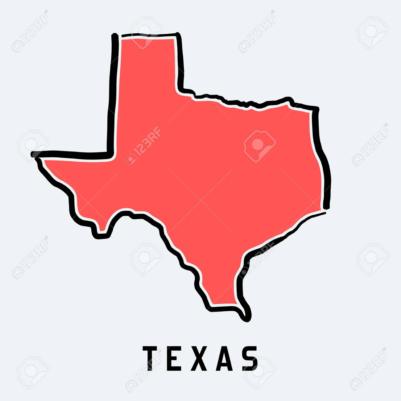State Of Texas Map Outline.Texas Map Outline Smooth Simplified Us State Shape Map Vector