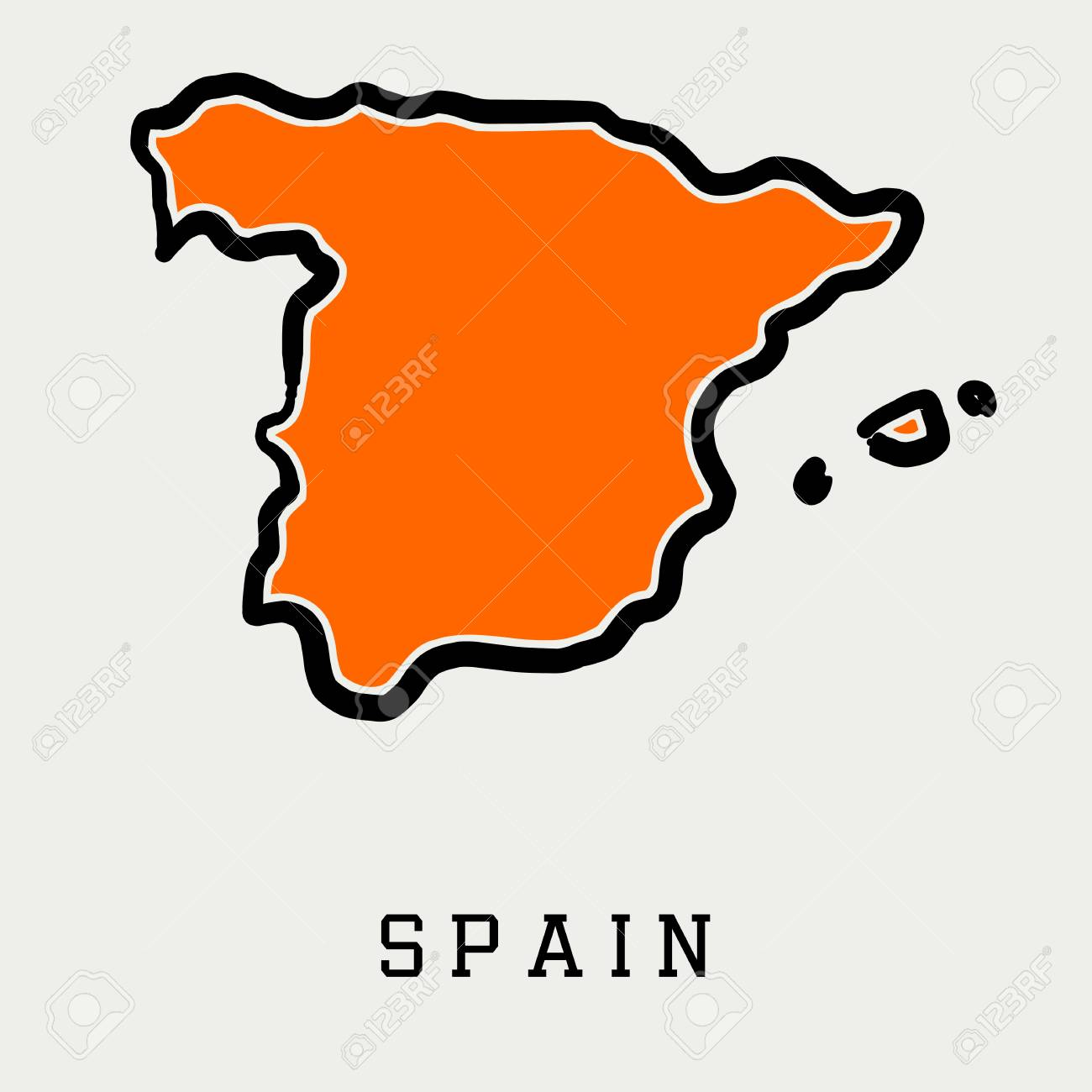 Spain Map Outline Smooth Simplified Country Shape Map Vector