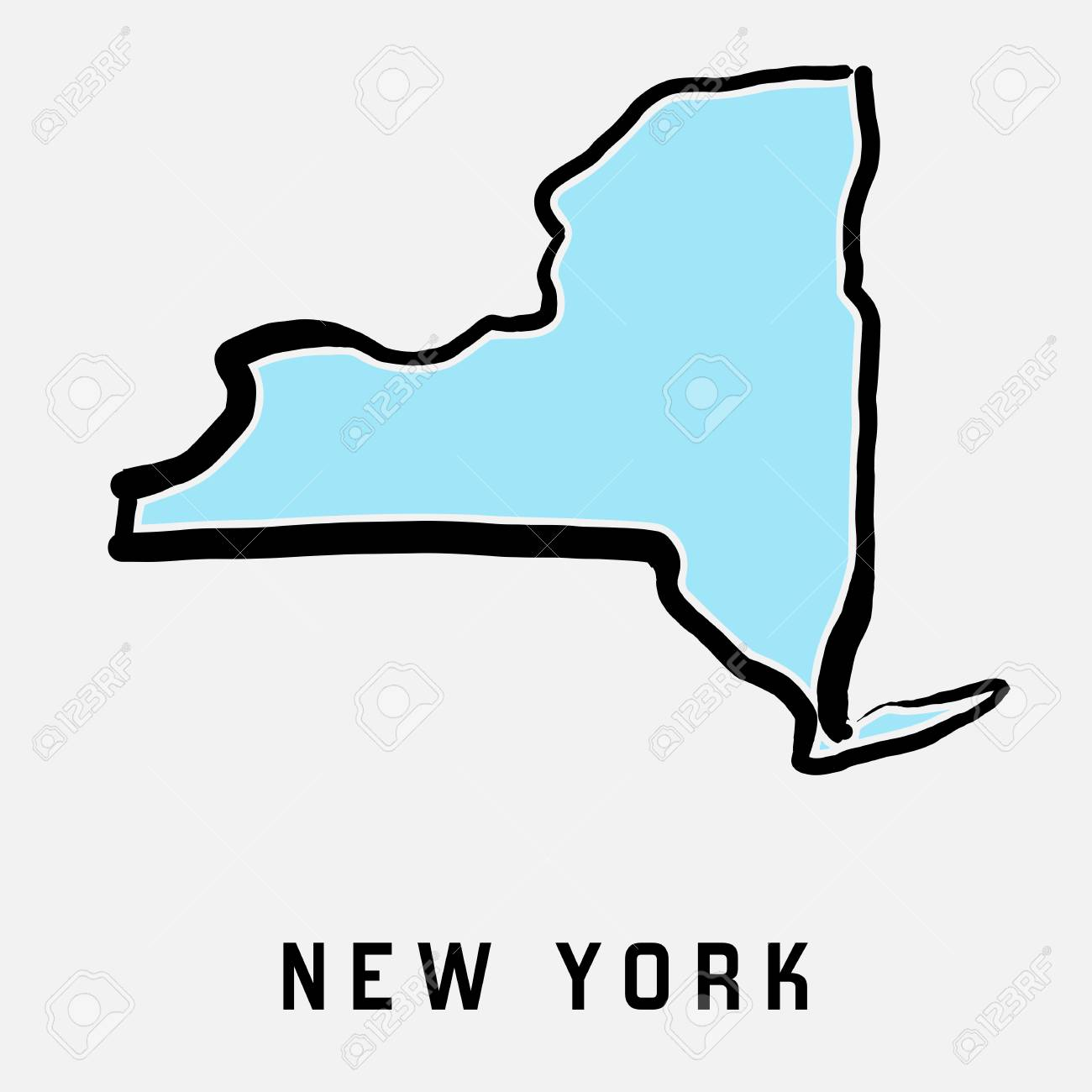New York Map Outline Smooth Simplified Us State Shape Map Vector