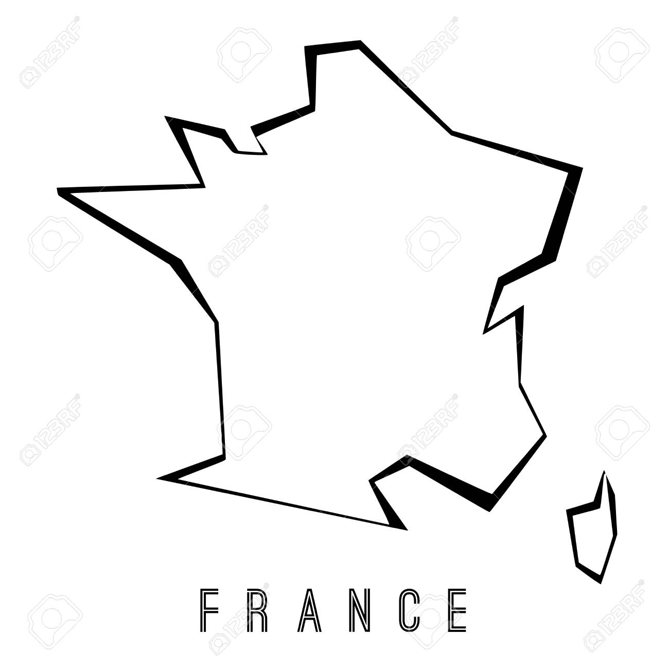 France Map Outline Country Shape Sharp Polygonal Geometric