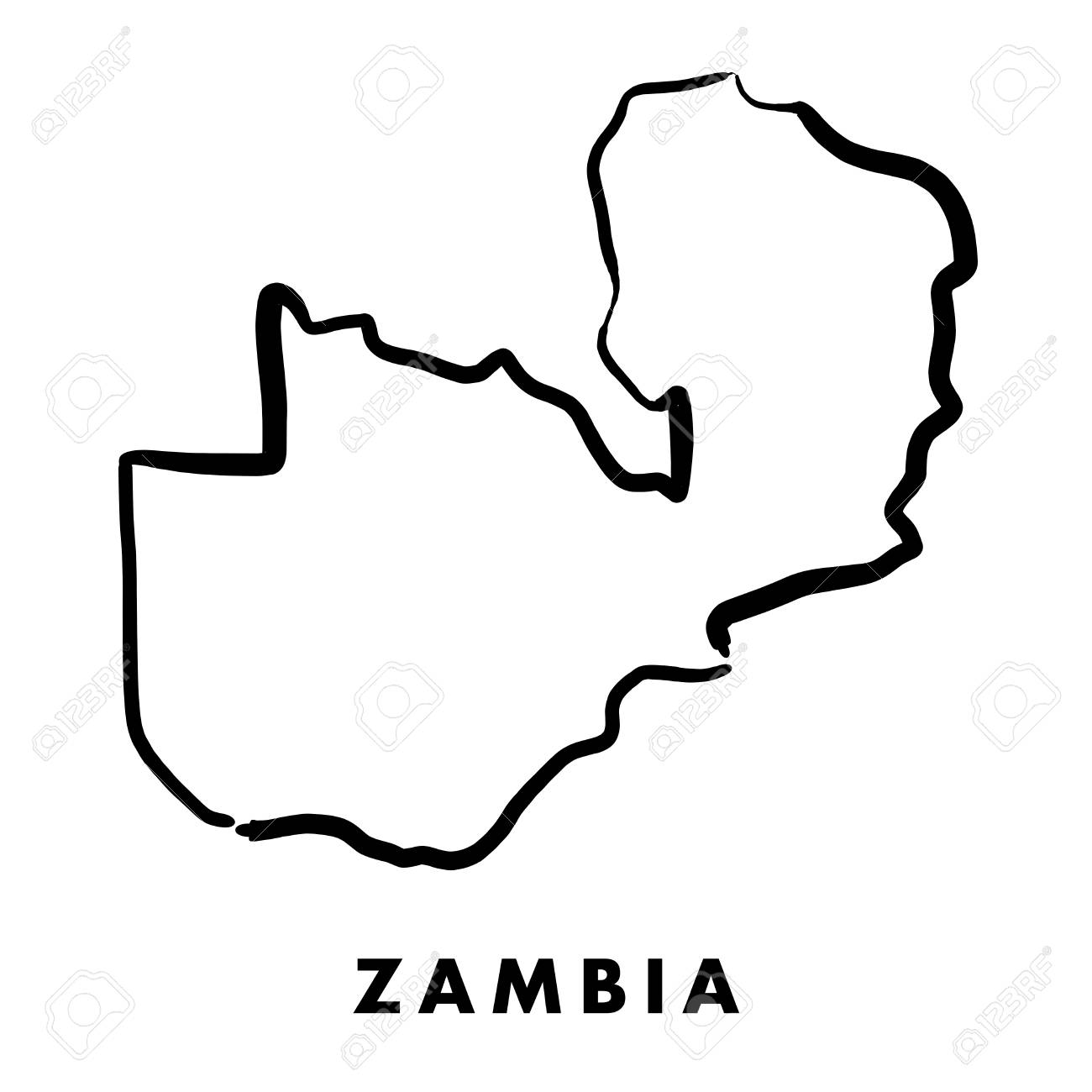 Zambian Map Vector.Zambia Simple Map Outline Smooth Simplified Country Shape Map