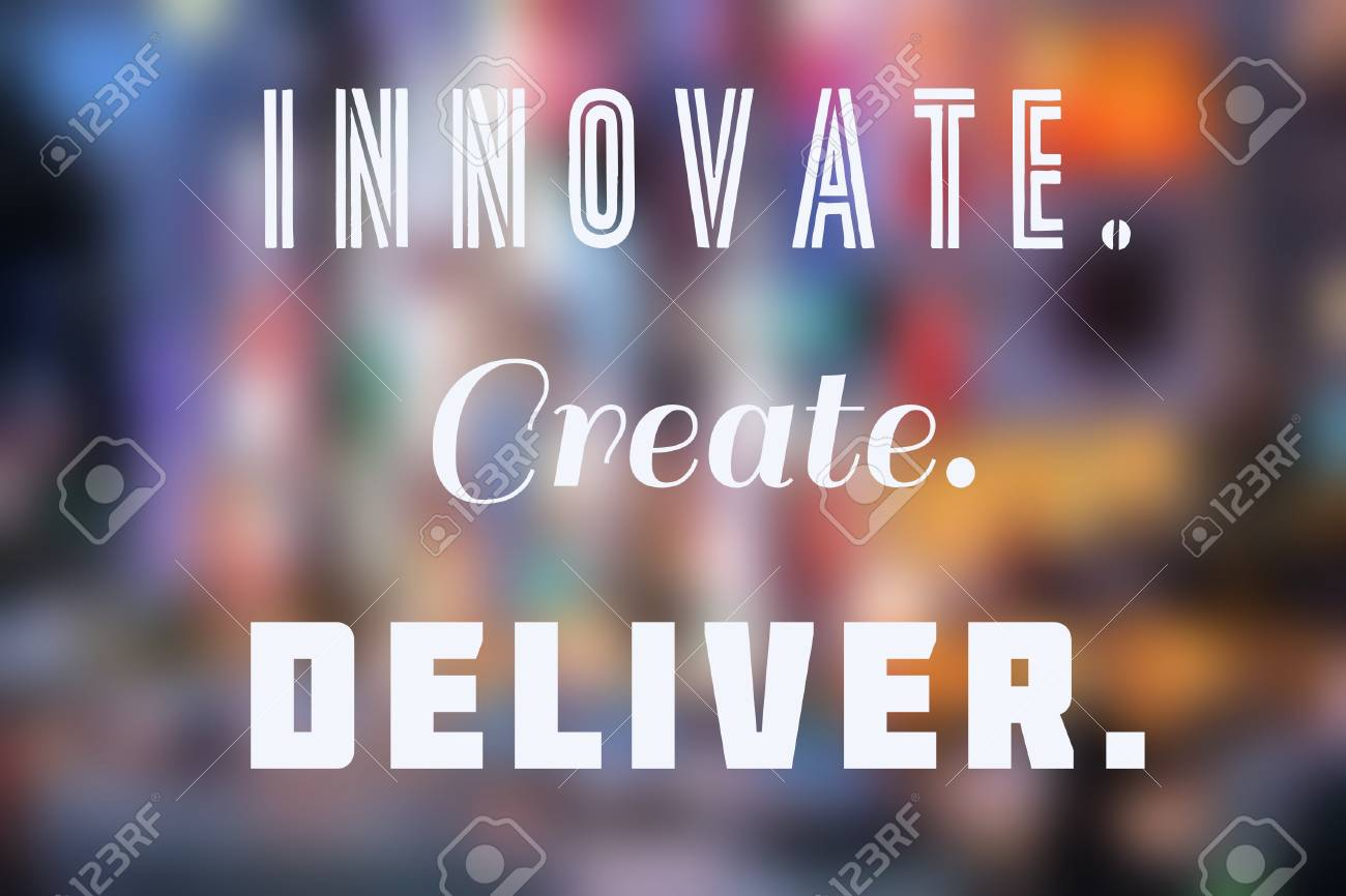 innovate create deliver business inspirational poster with