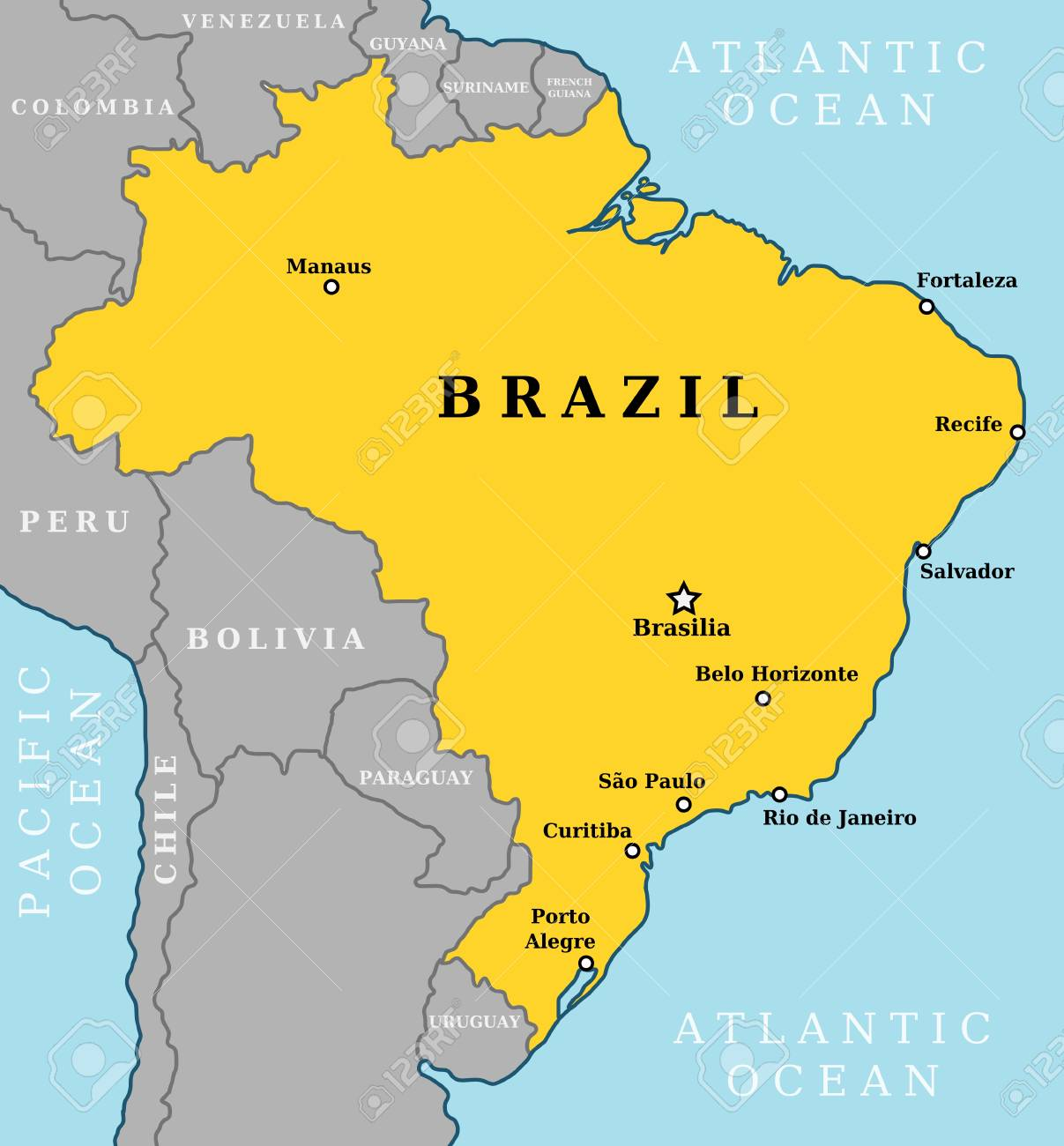 Map Of Brazil, Country Outline With 10 Largest Cities Including ...