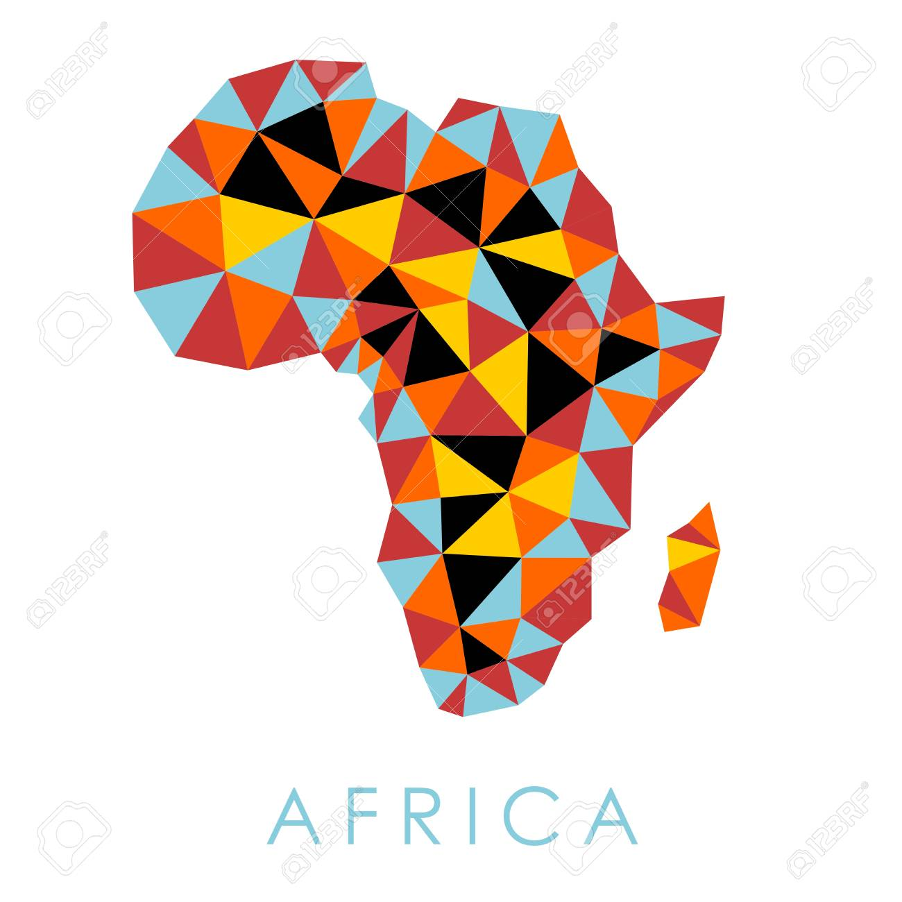 Africa low-poly modern style vector map. Simple graphics.